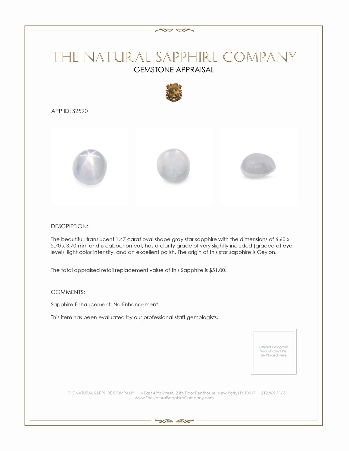 Natural Untreated Star Sapphire S2590 Certification 2
