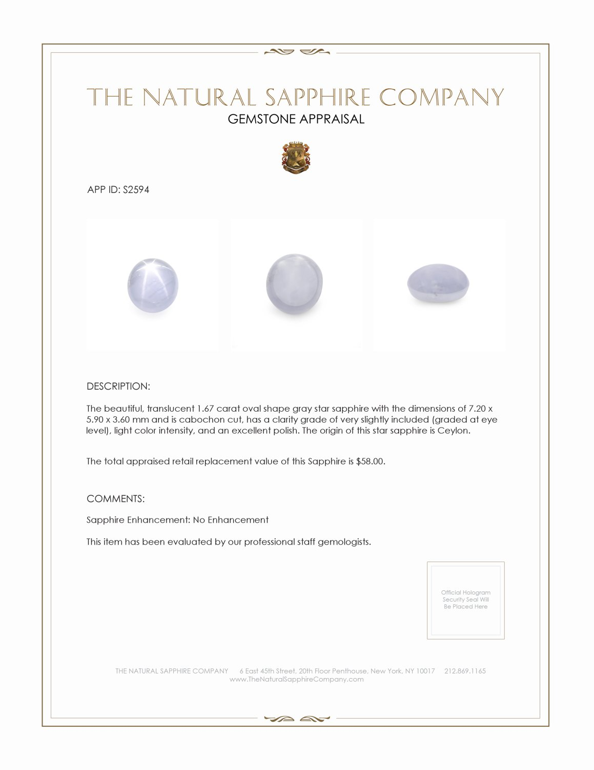Natural Untreated Star Sapphire S2594 Certification 2