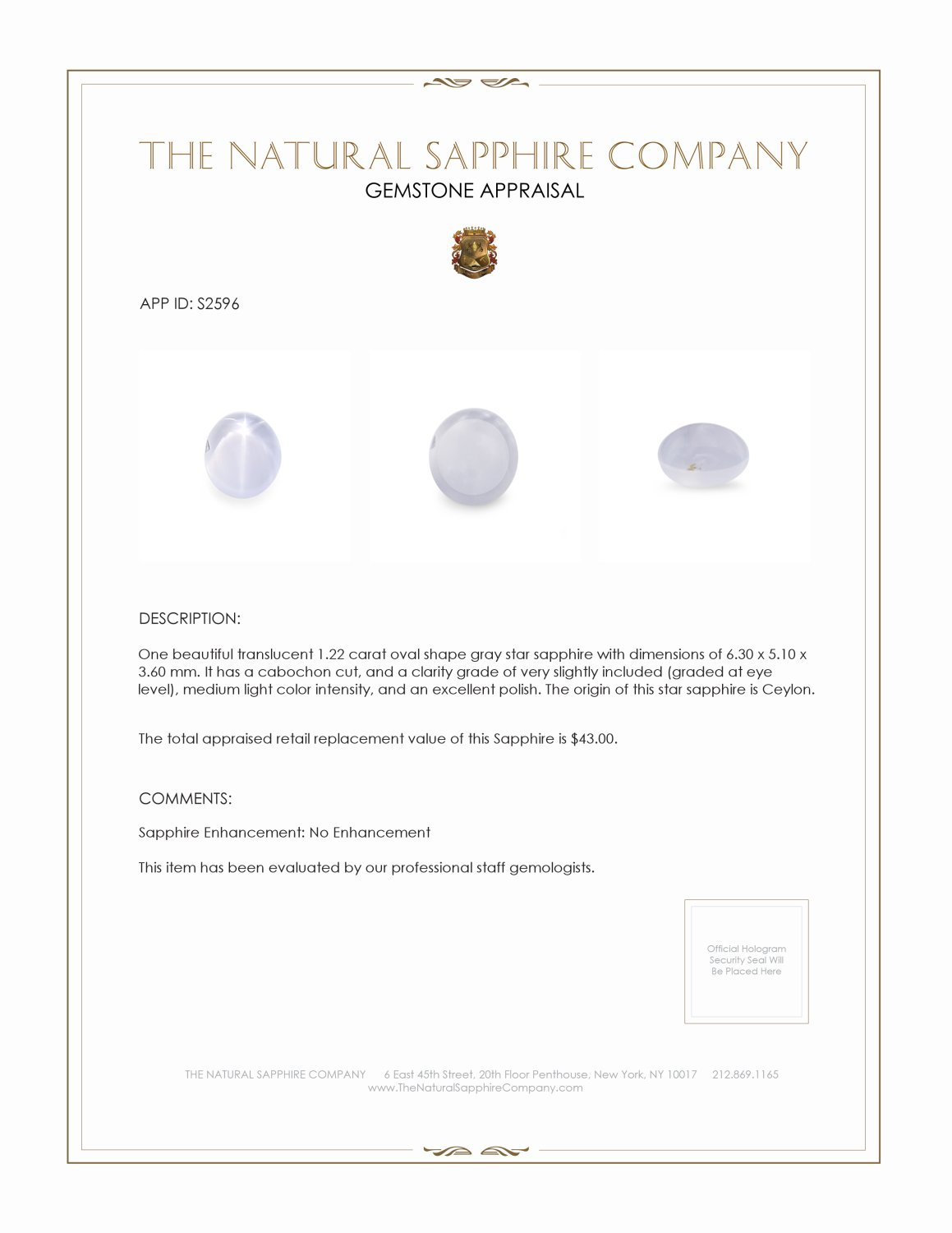 Natural Untreated Star Sapphire S2596 Certification 2