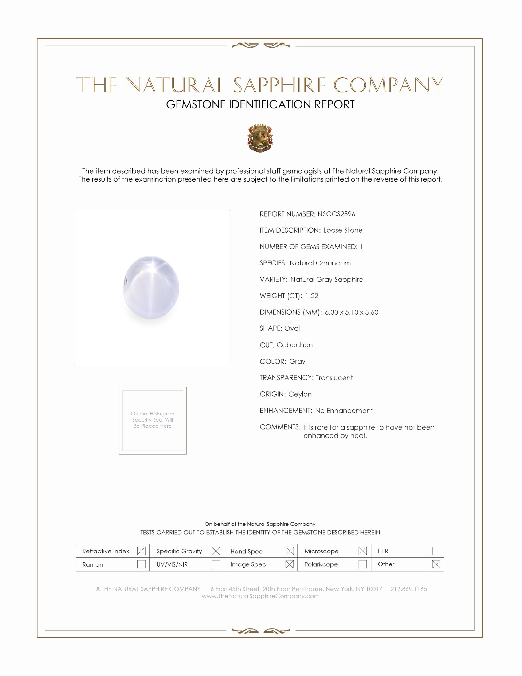 Natural Untreated Star Sapphire S2596 Certification