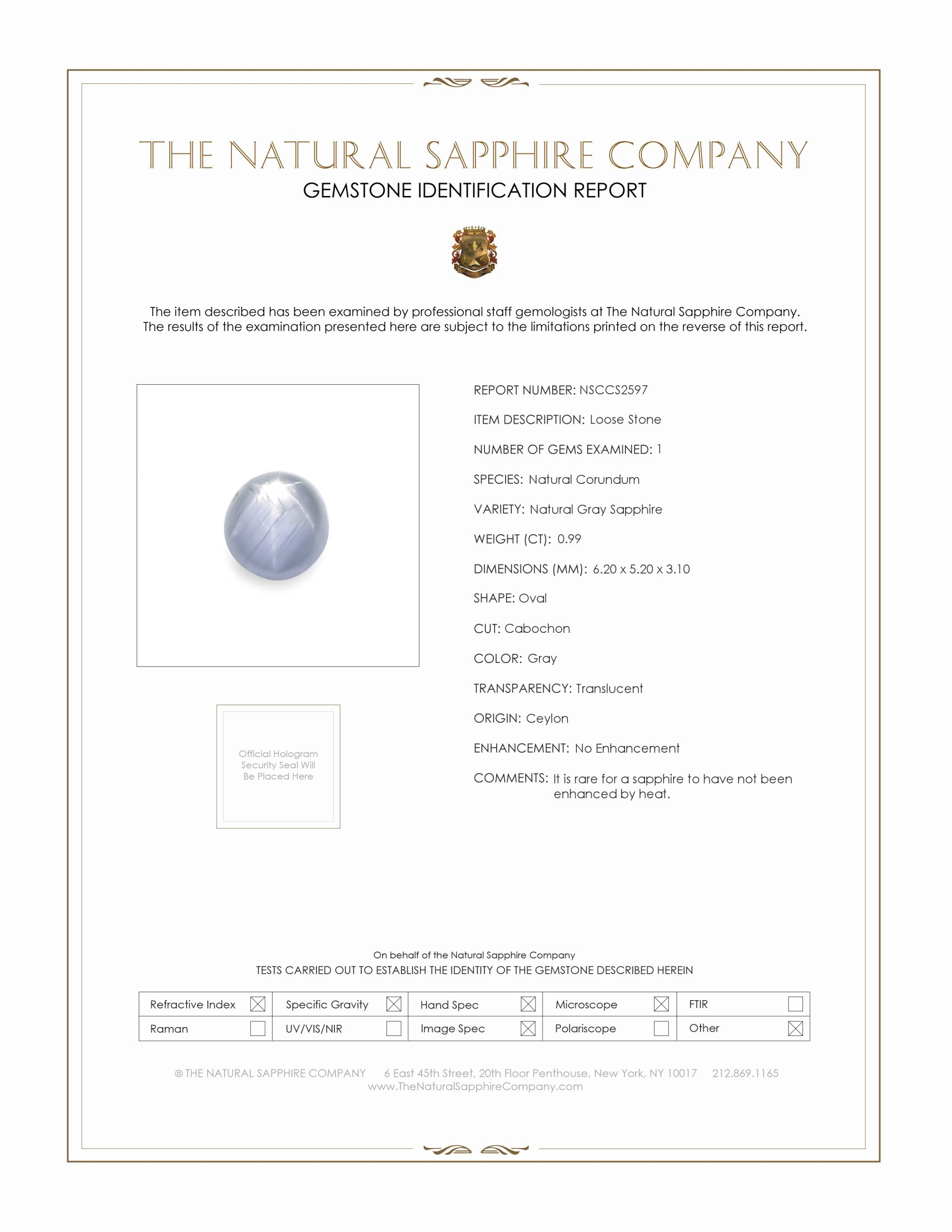 Natural Untreated Star Sapphire S2597 Certification
