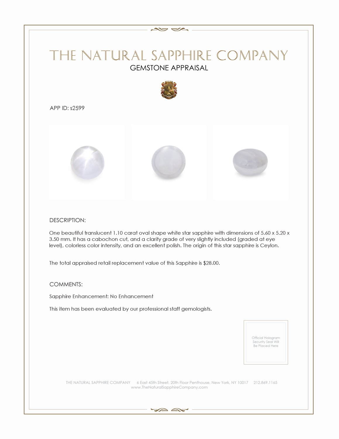 Natural Untreated Star Sapphire S2599 Certification