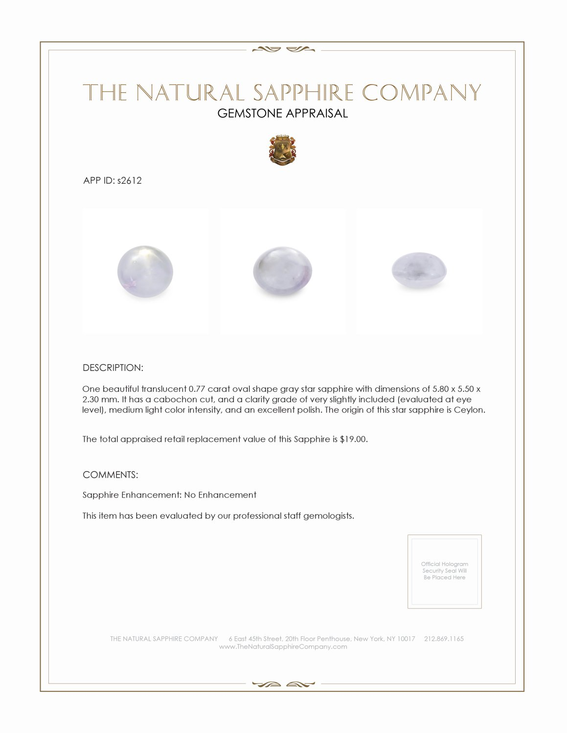 Natural Untreated Star Sapphire S2612 Certification 2