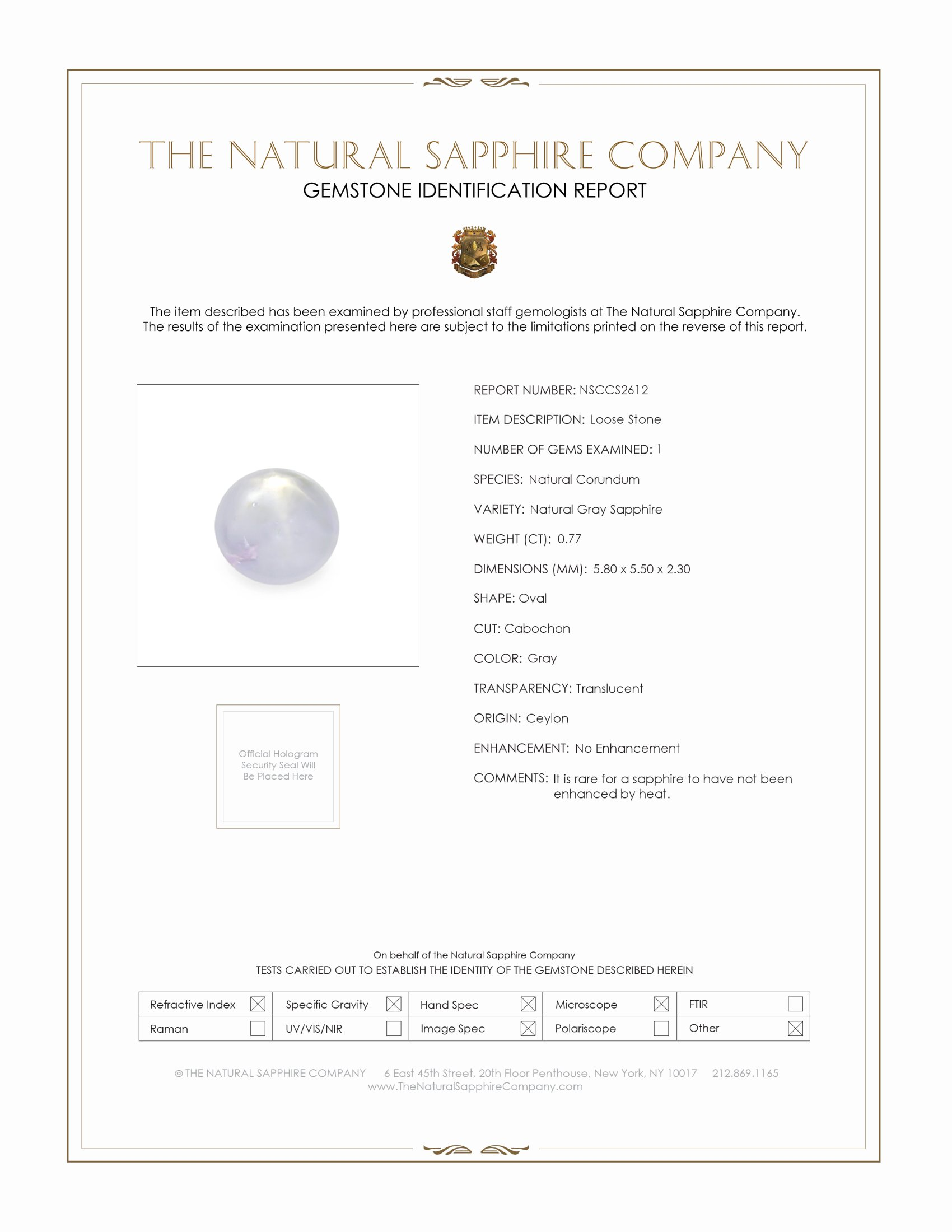 Natural Untreated Star Sapphire S2612 Certification