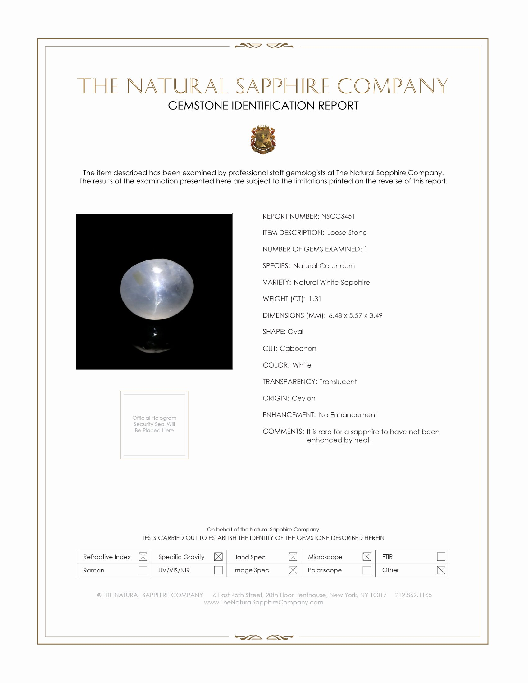 Natural Untreated Colorless Star Sapphire S451 Certification