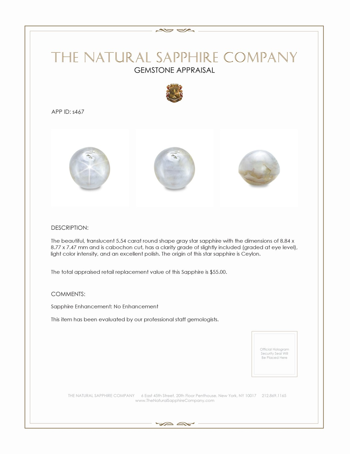 Natural Untreated Blue Star Sapphire S467 Certification 2