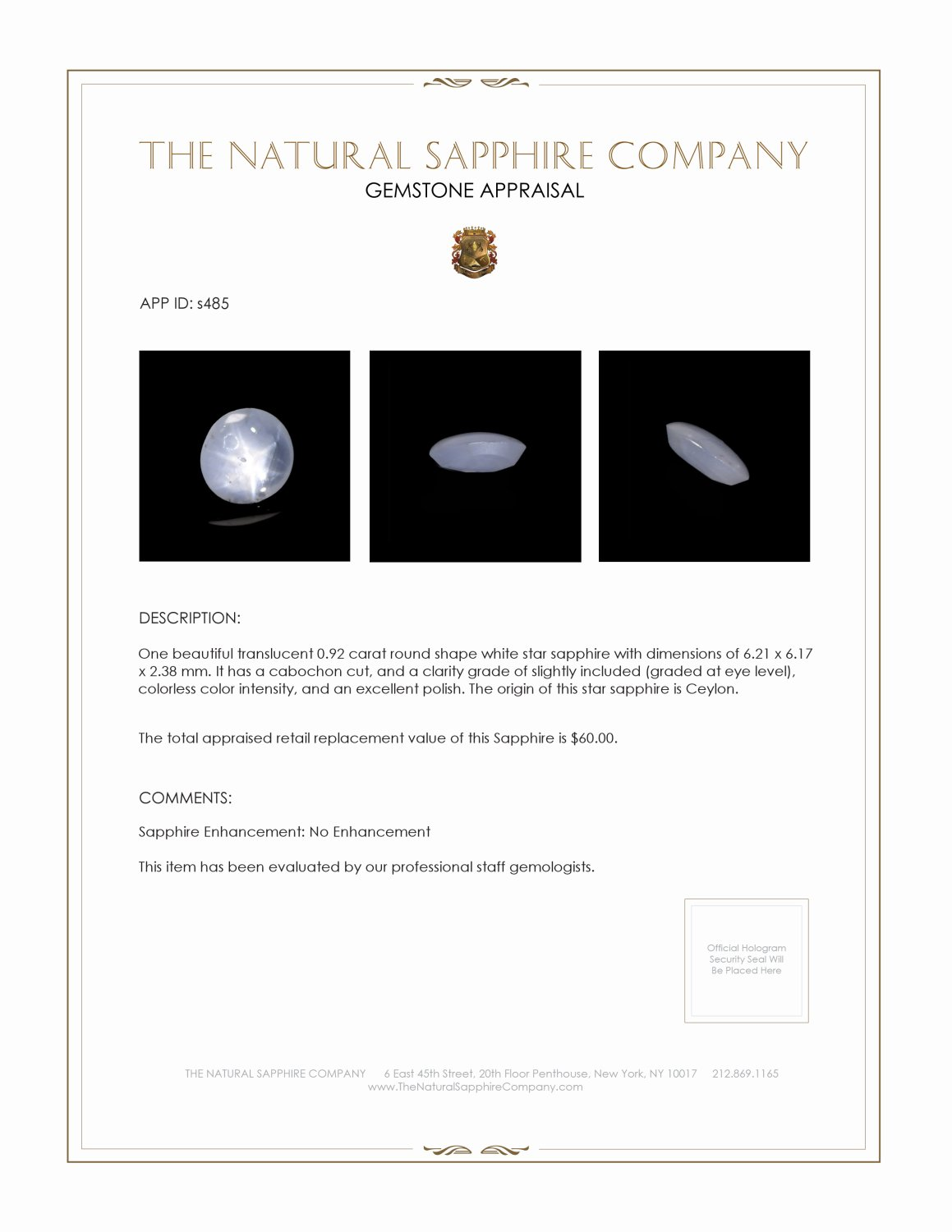 Natural Untreated White Star Sapphire S485 Certification 2