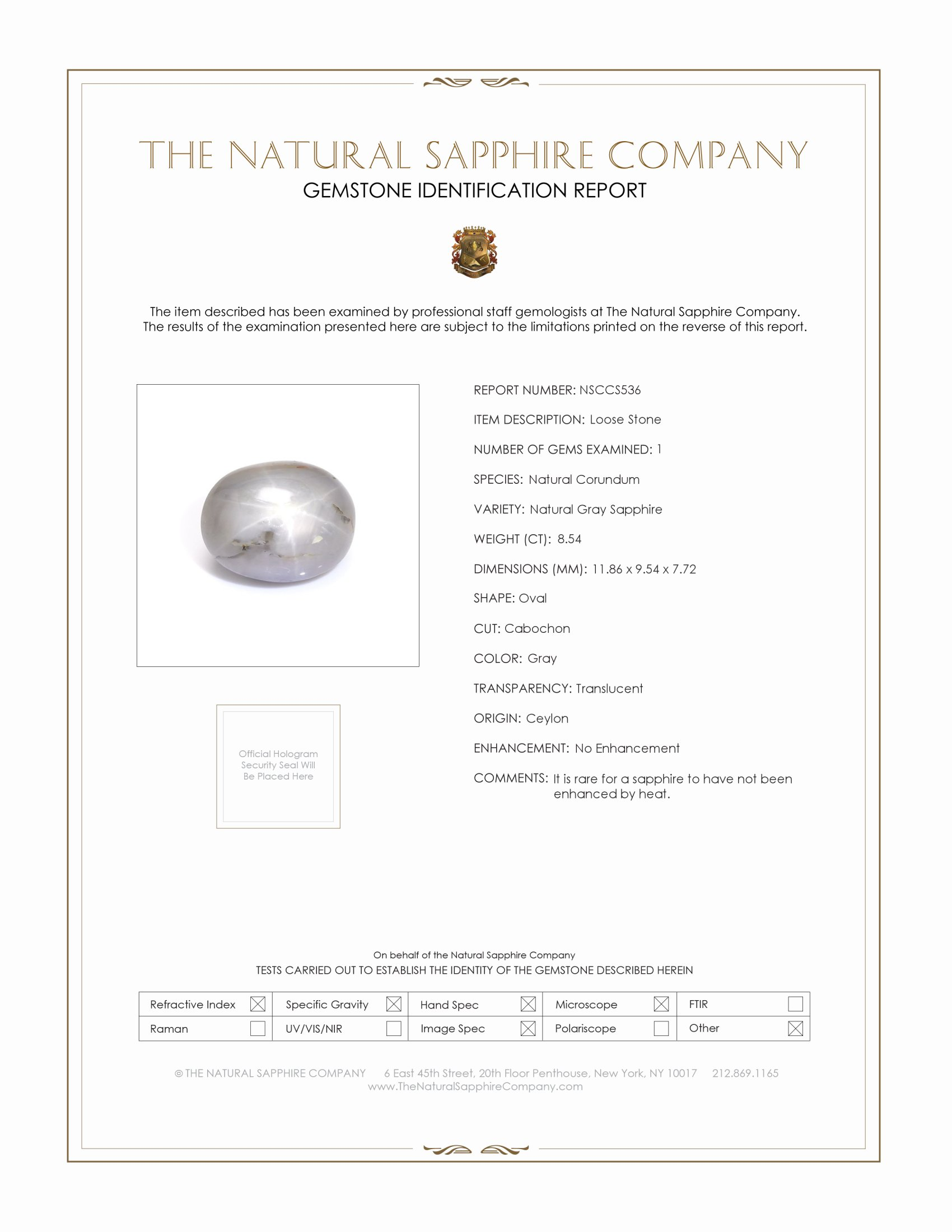 Natural Untreated Moonstone Silver Star Sapphire S536 Certification