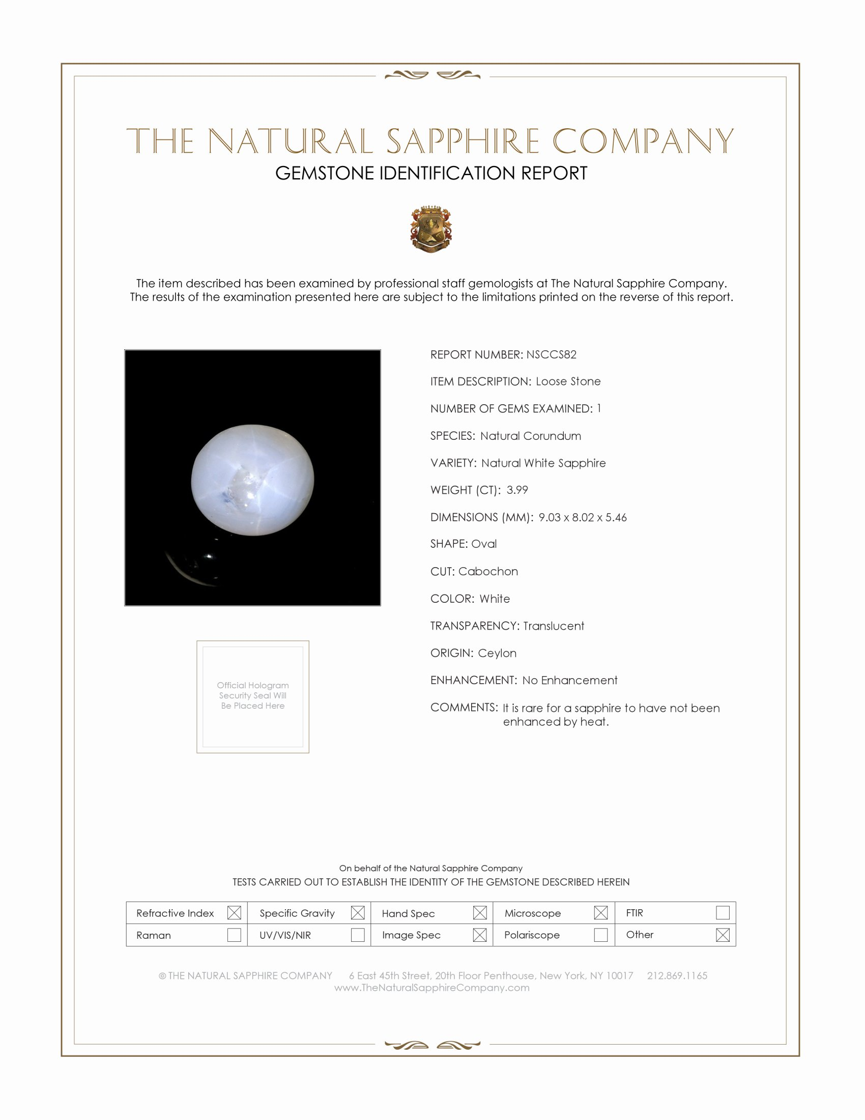 Natural Untreated White Star Sapphire S82 Certification