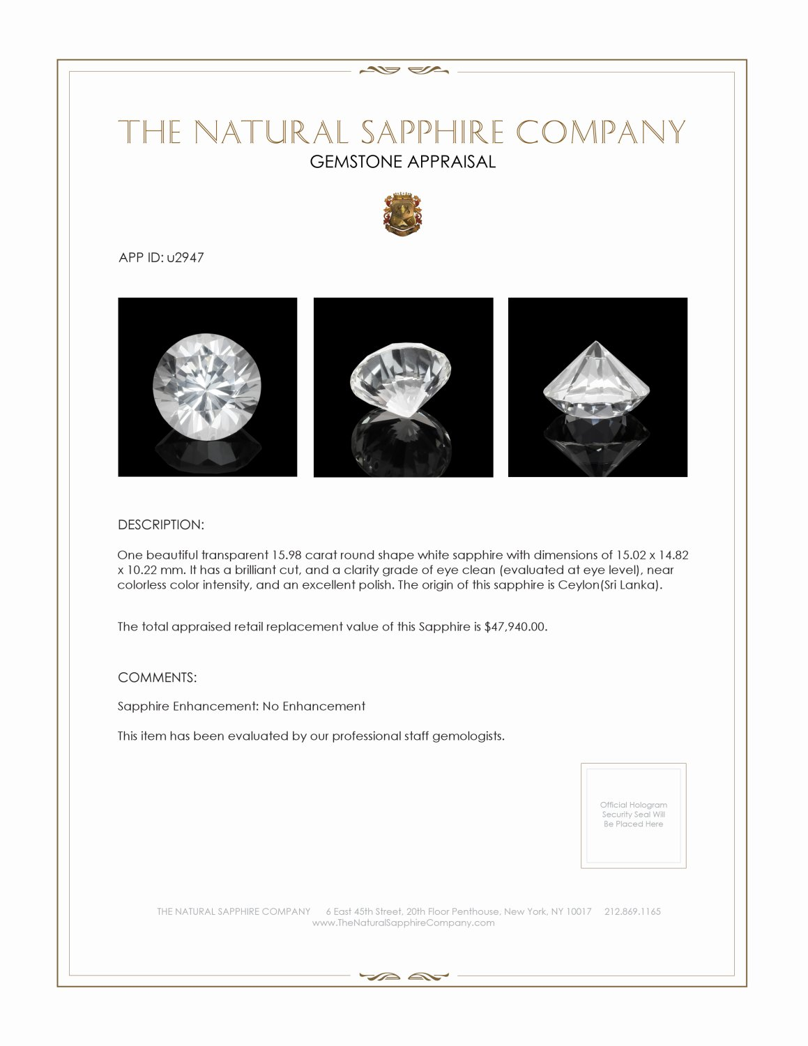 Natural Untreated White Sapphire U2947 Certification