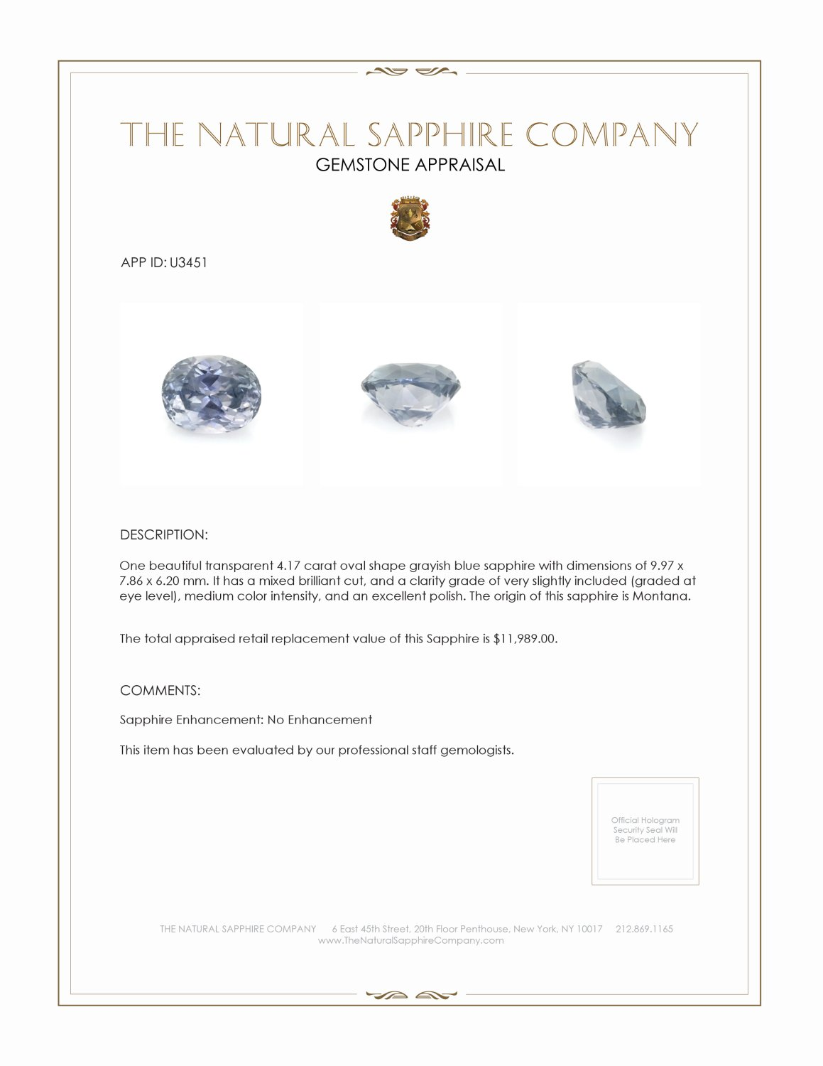 Natural Untreated Greyish Blue Sapphire U3451 Certification 3