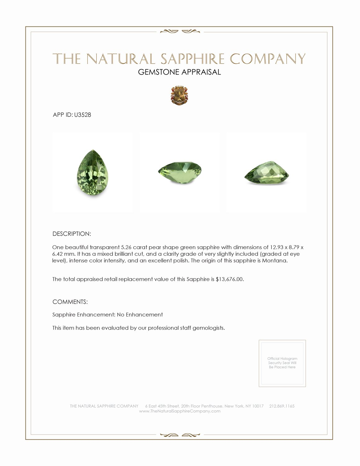 Natural Untreated Green Sapphire U3528 Certification 3