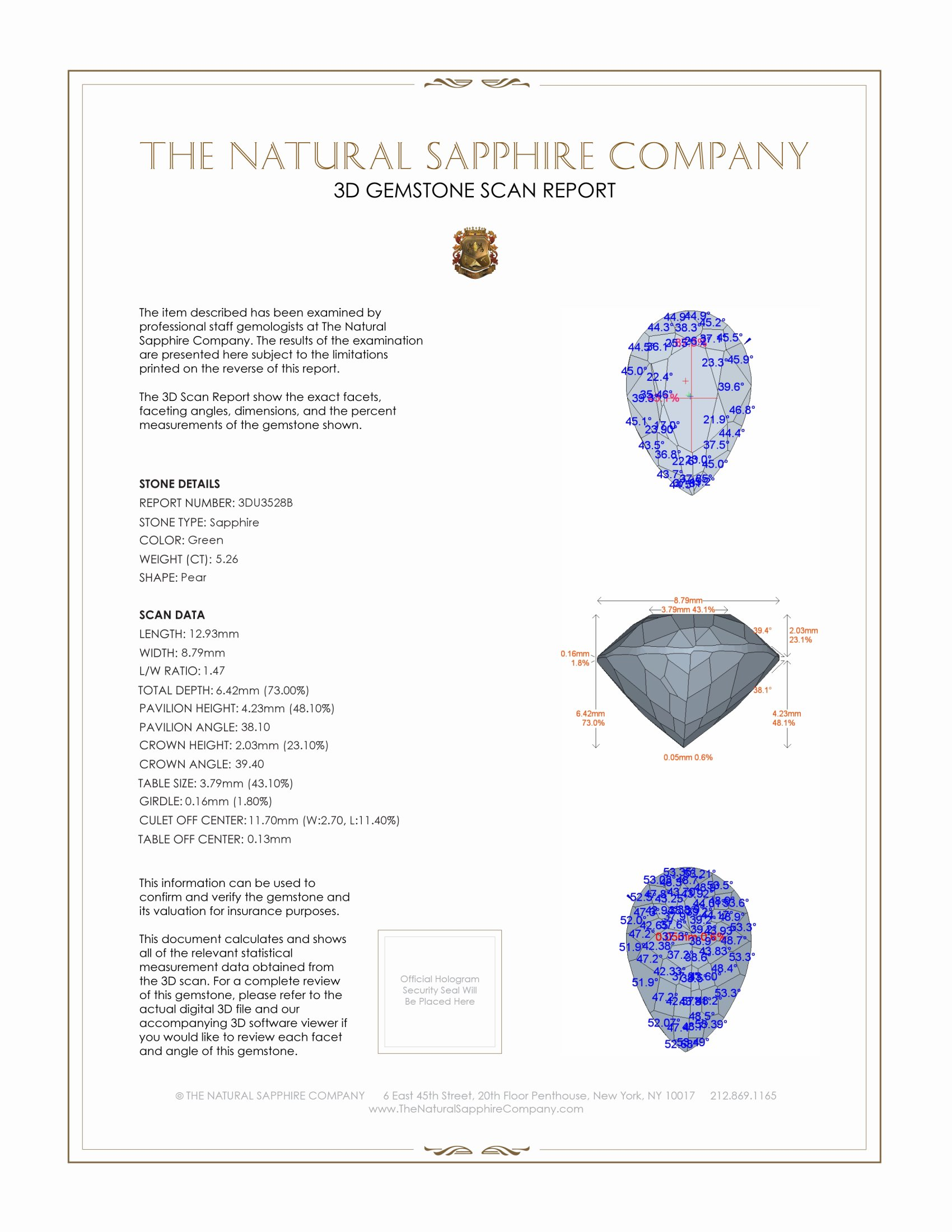 Natural Untreated Green Sapphire U3528 Certification 2
