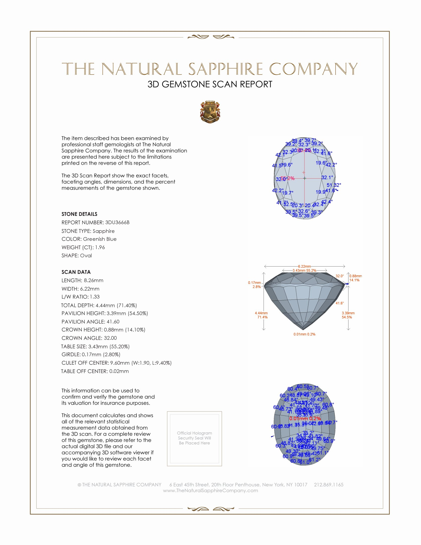 Natural Untreated Greenish Blue Sapphire U3666 Certification 2
