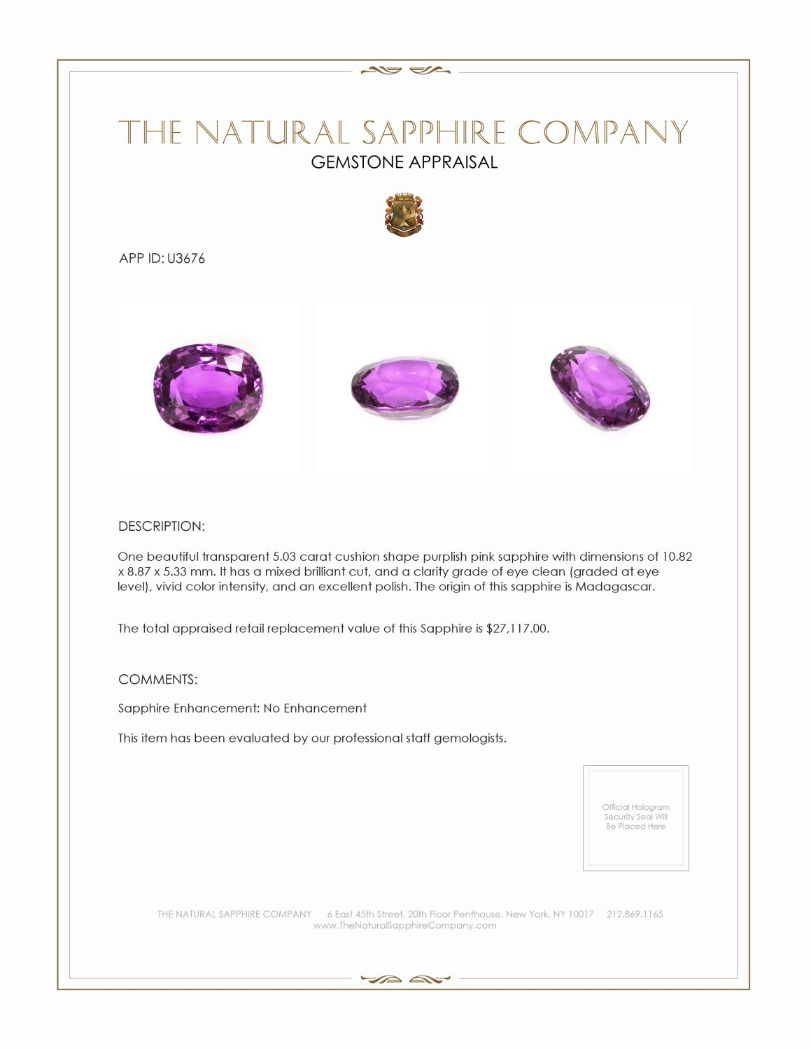 Natural Untreated Pinkish Purple Sapphire U3676 Certification 4