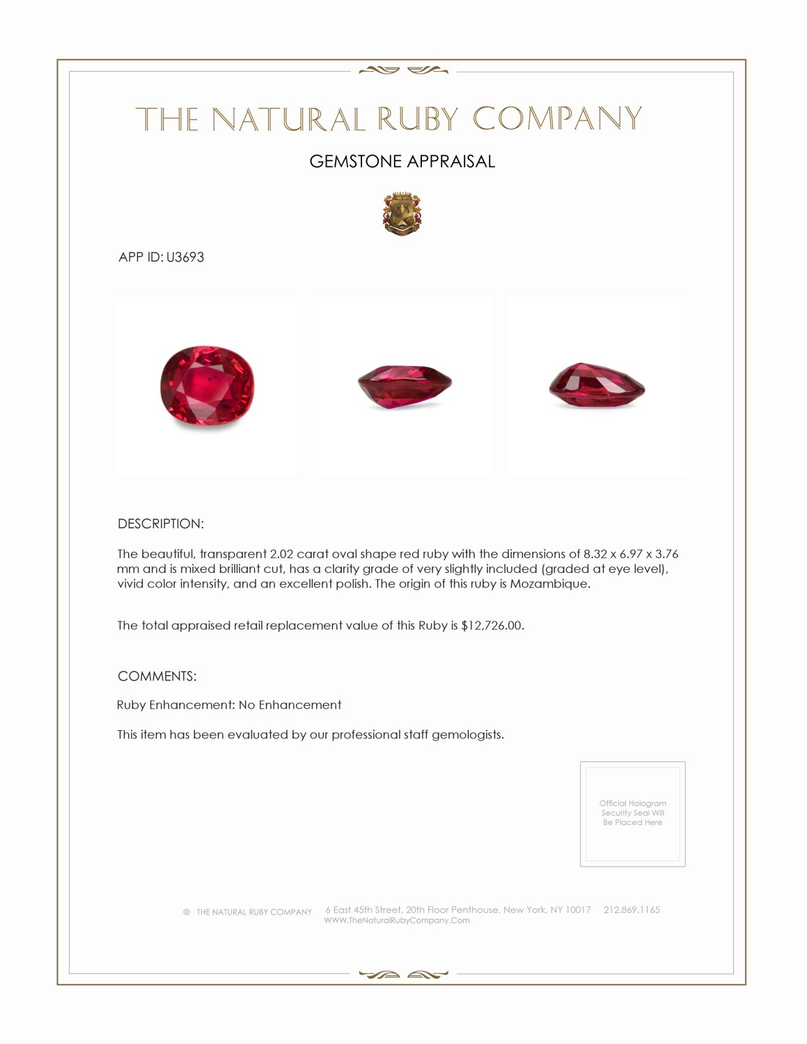 Natural Untreated Ruby U3693 Certification 4