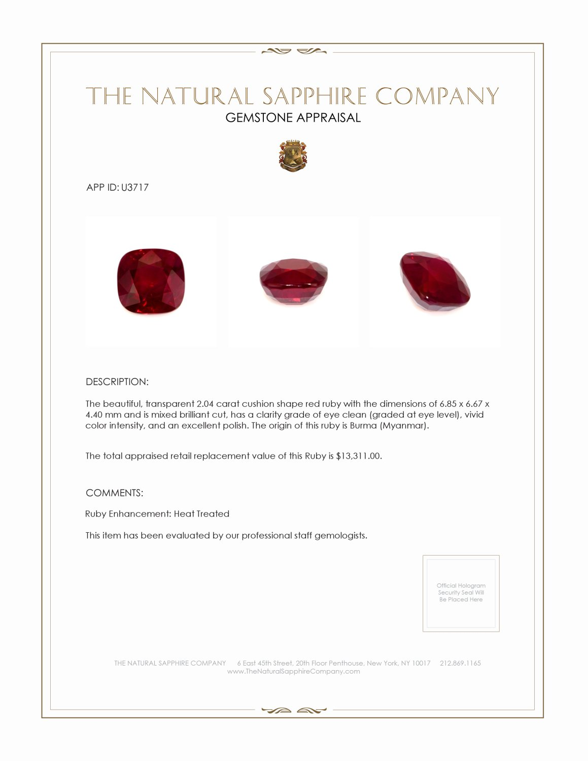 Natural Ruby U3717 Certification 4