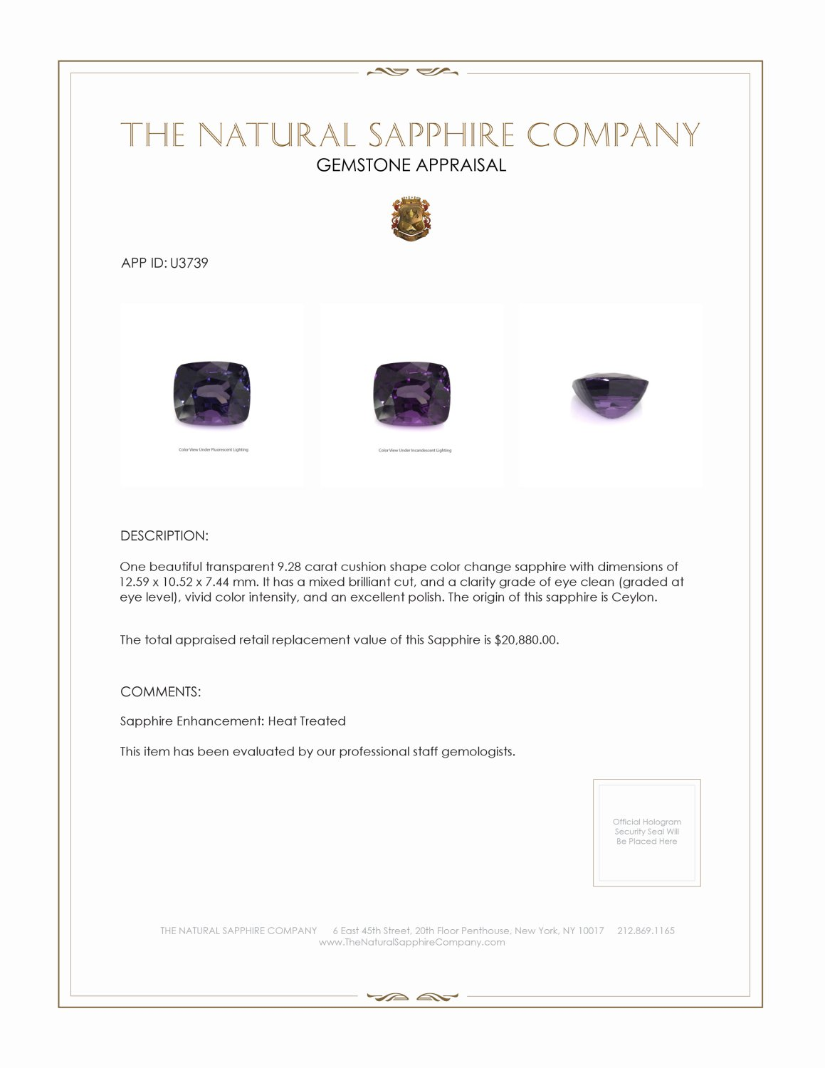Natural Color-Change Sapphire U3739 Certification 4