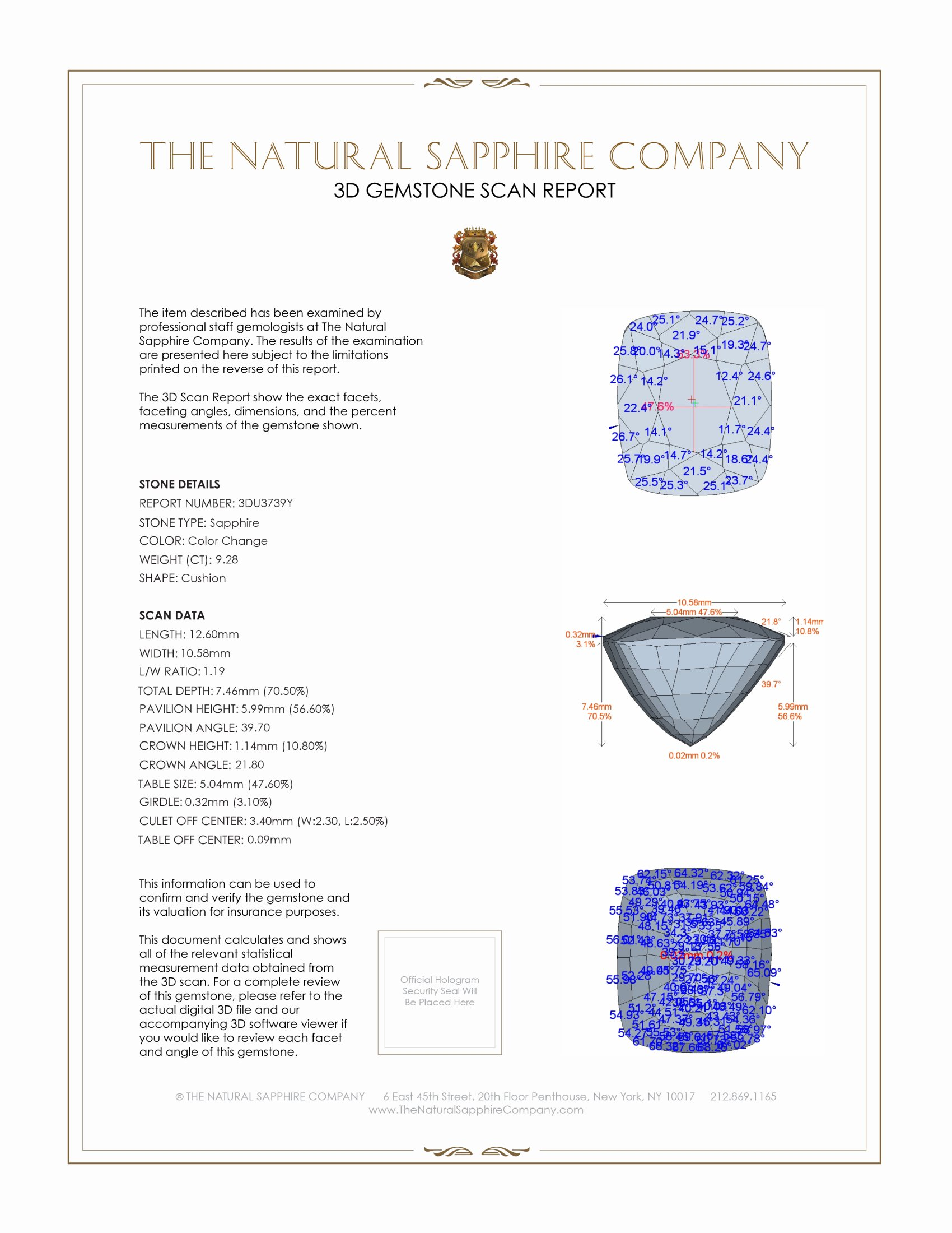 Natural Color-Change Sapphire U3739 Certification 2