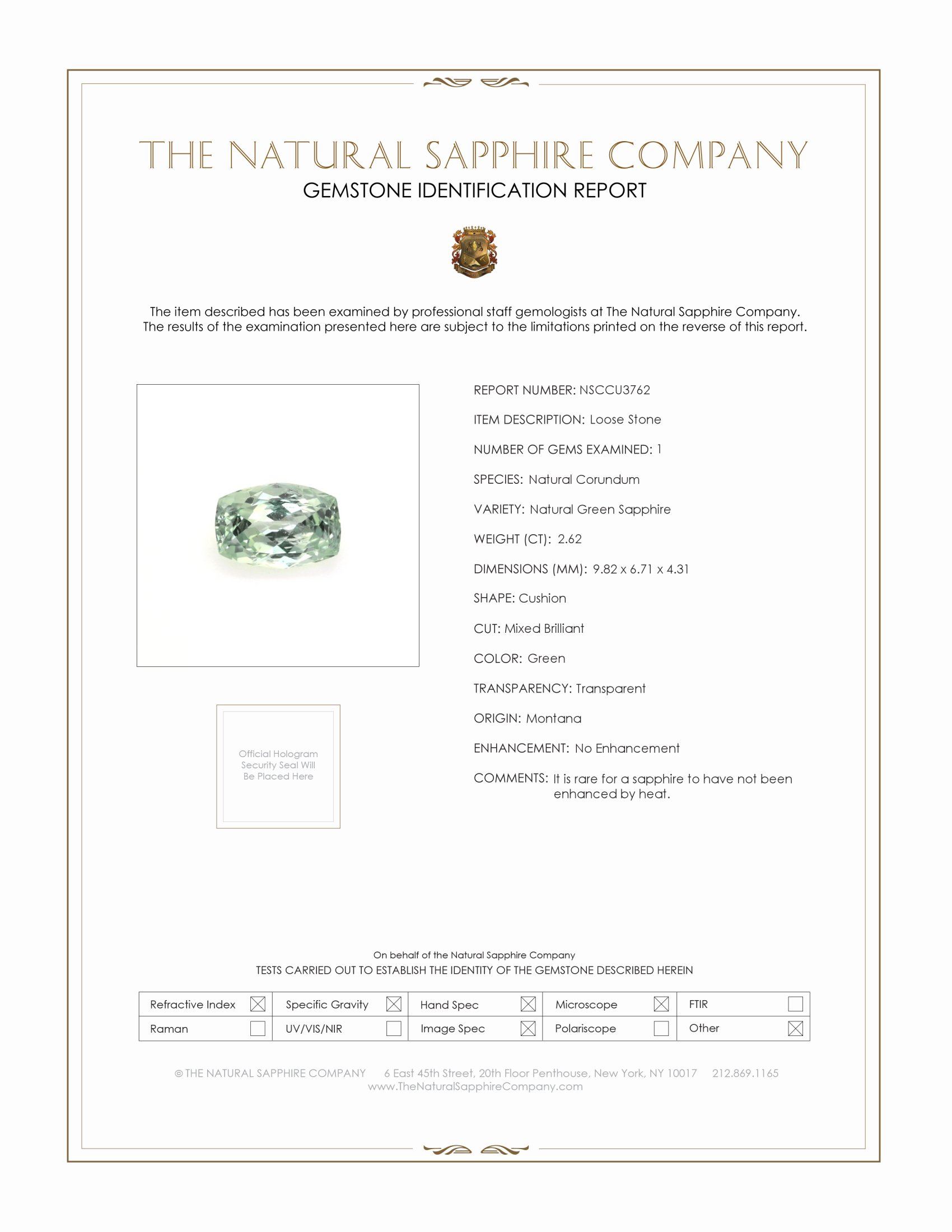 Natural Untreated Green Sapphire U3762 Certification