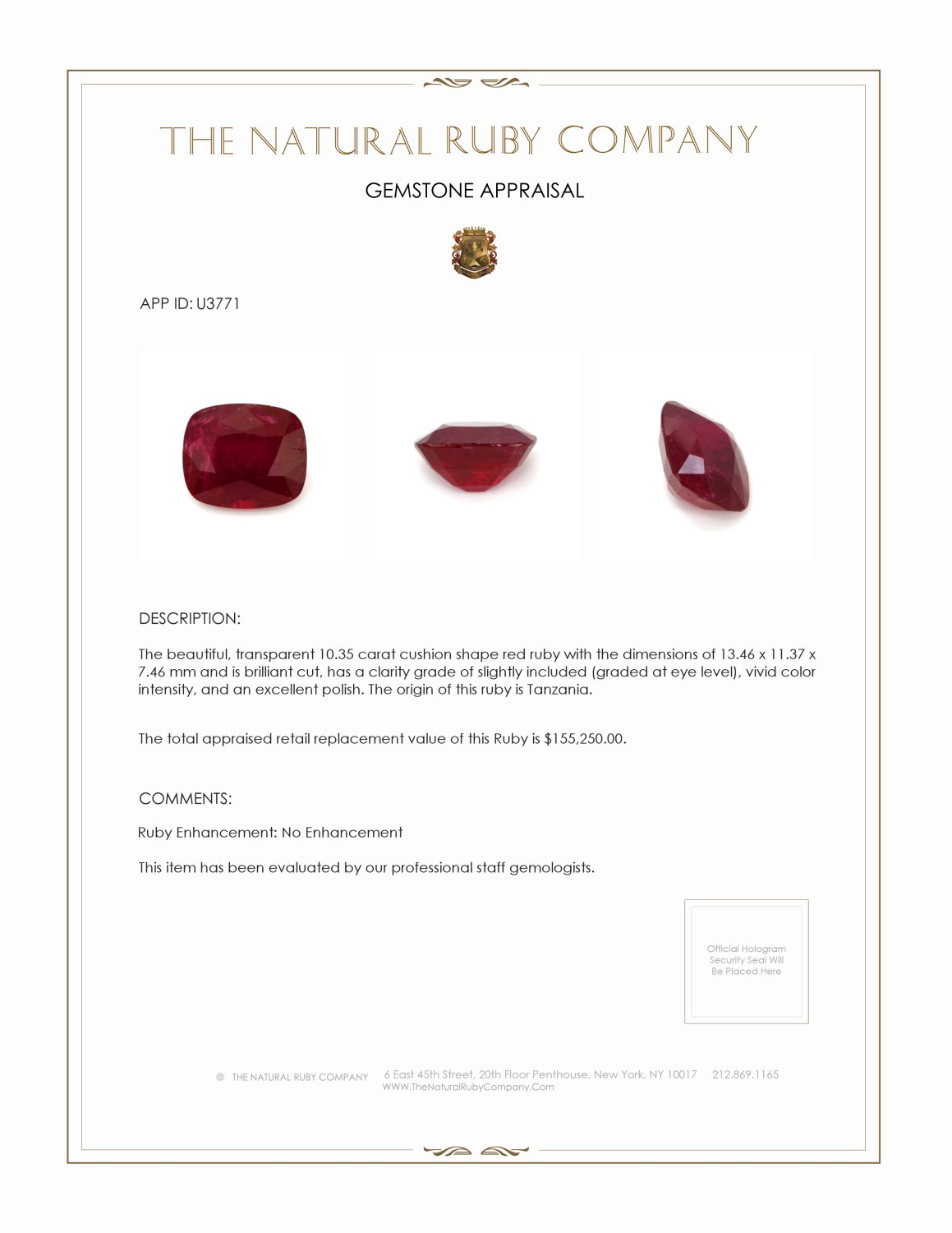 Natural Untreated Ruby U3771 Certification 5