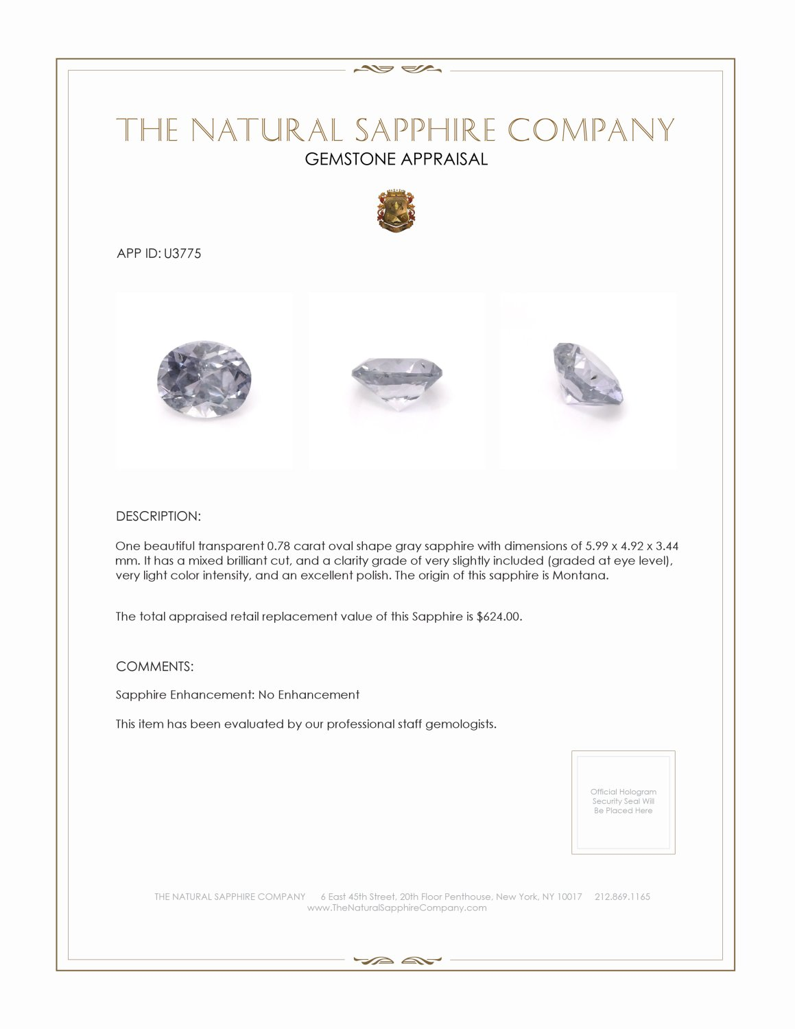 Natural Untreated Violet Sapphire U3775 Certification 3