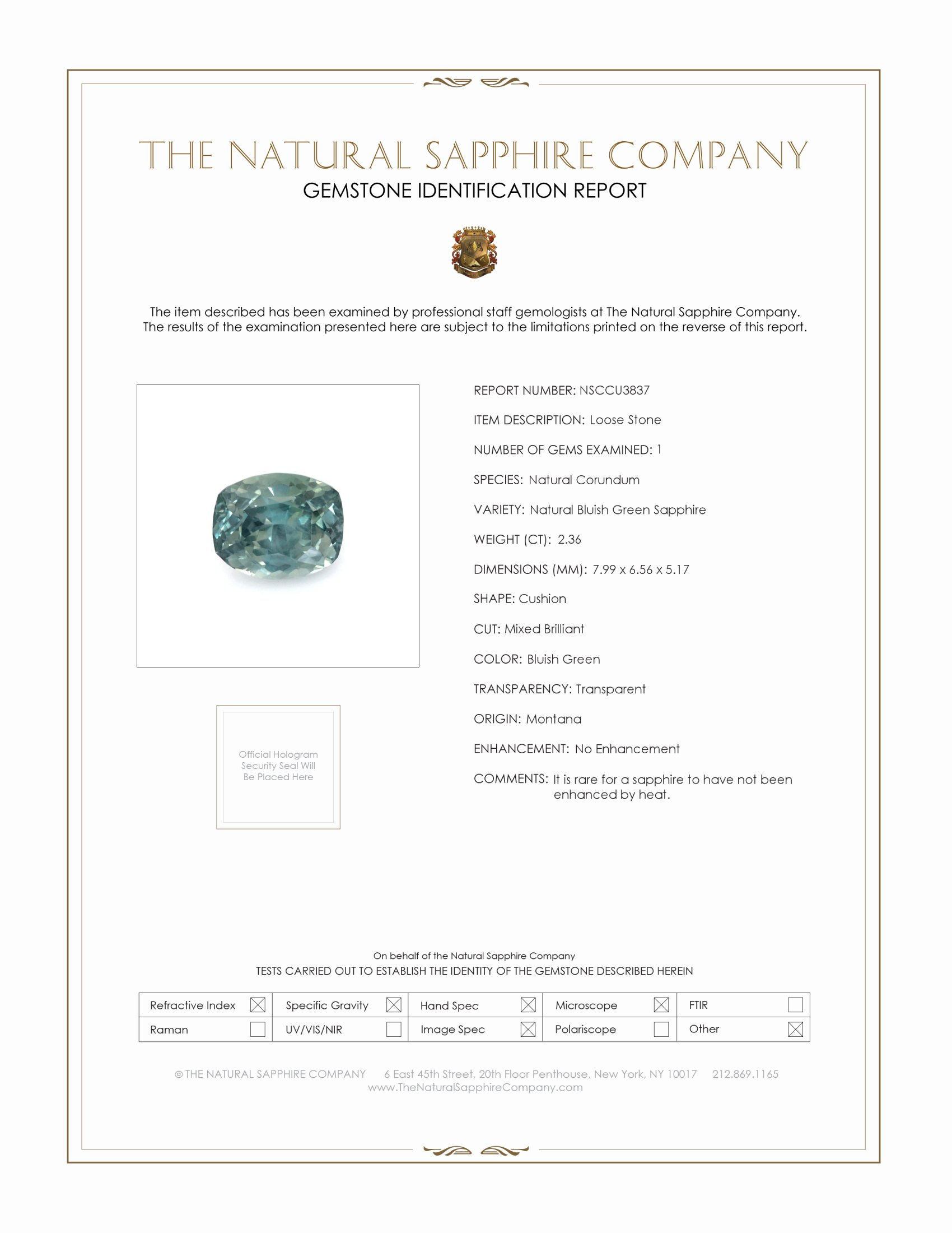 Natural Untreated Bluish Green Sapphire U3837 Certification