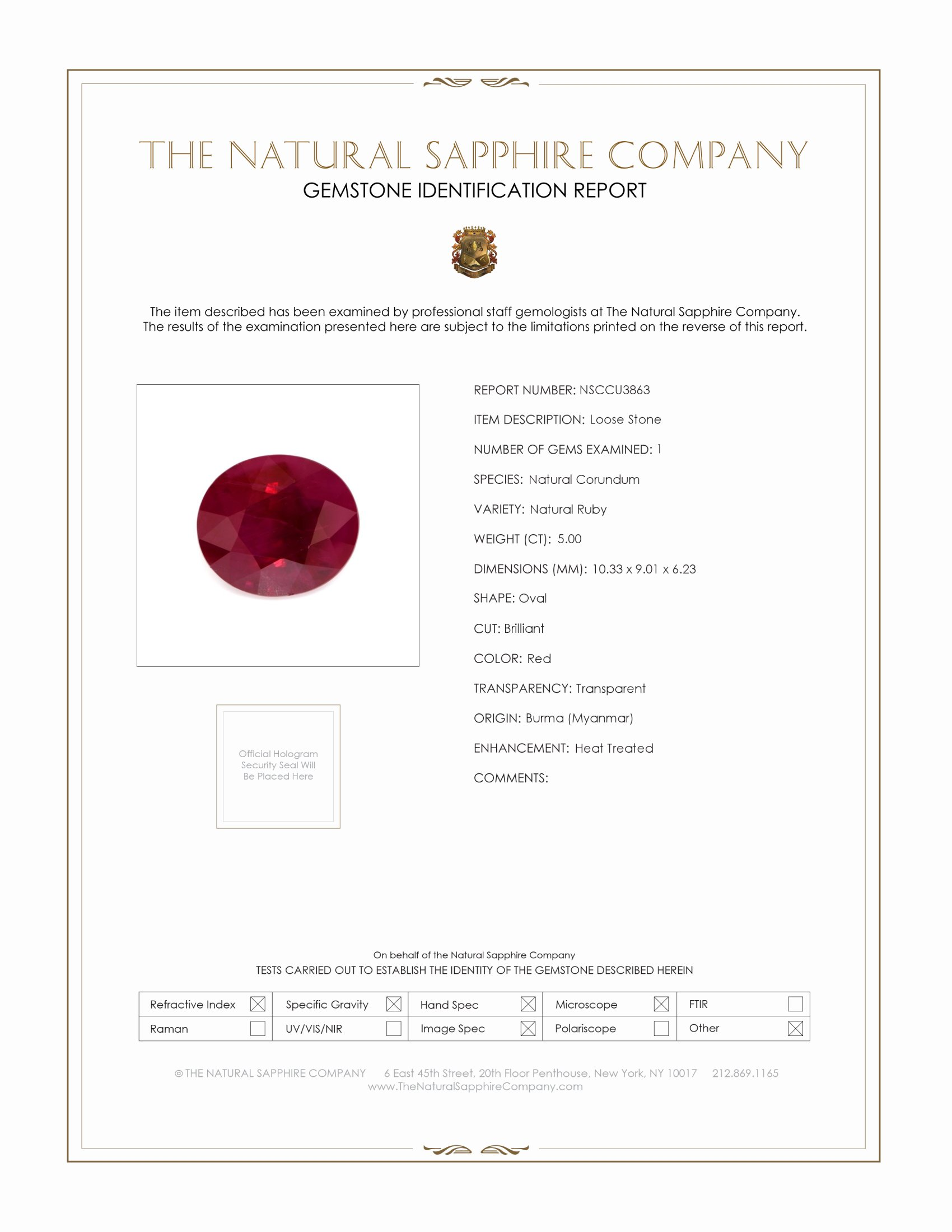 Natural Ruby U3863 Certification