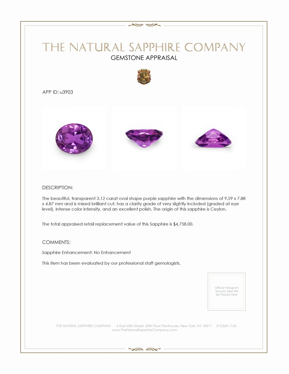 Natural Untreated Purple Sapphire U3903 Certification 3