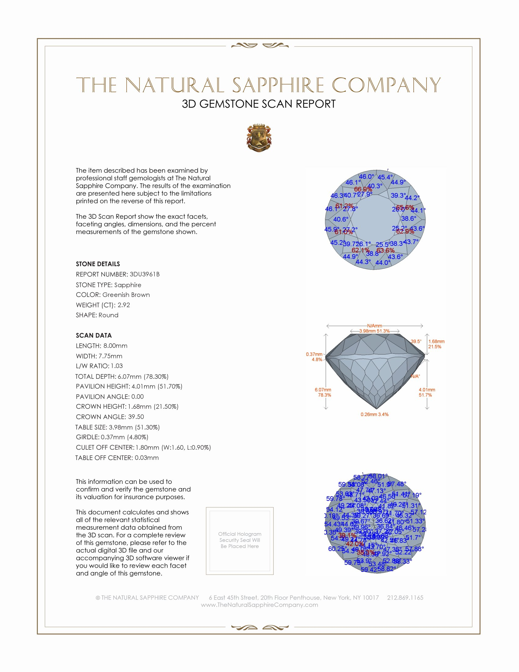 Natural Untreated Multi-Color Sapphire U3961 Certification 2
