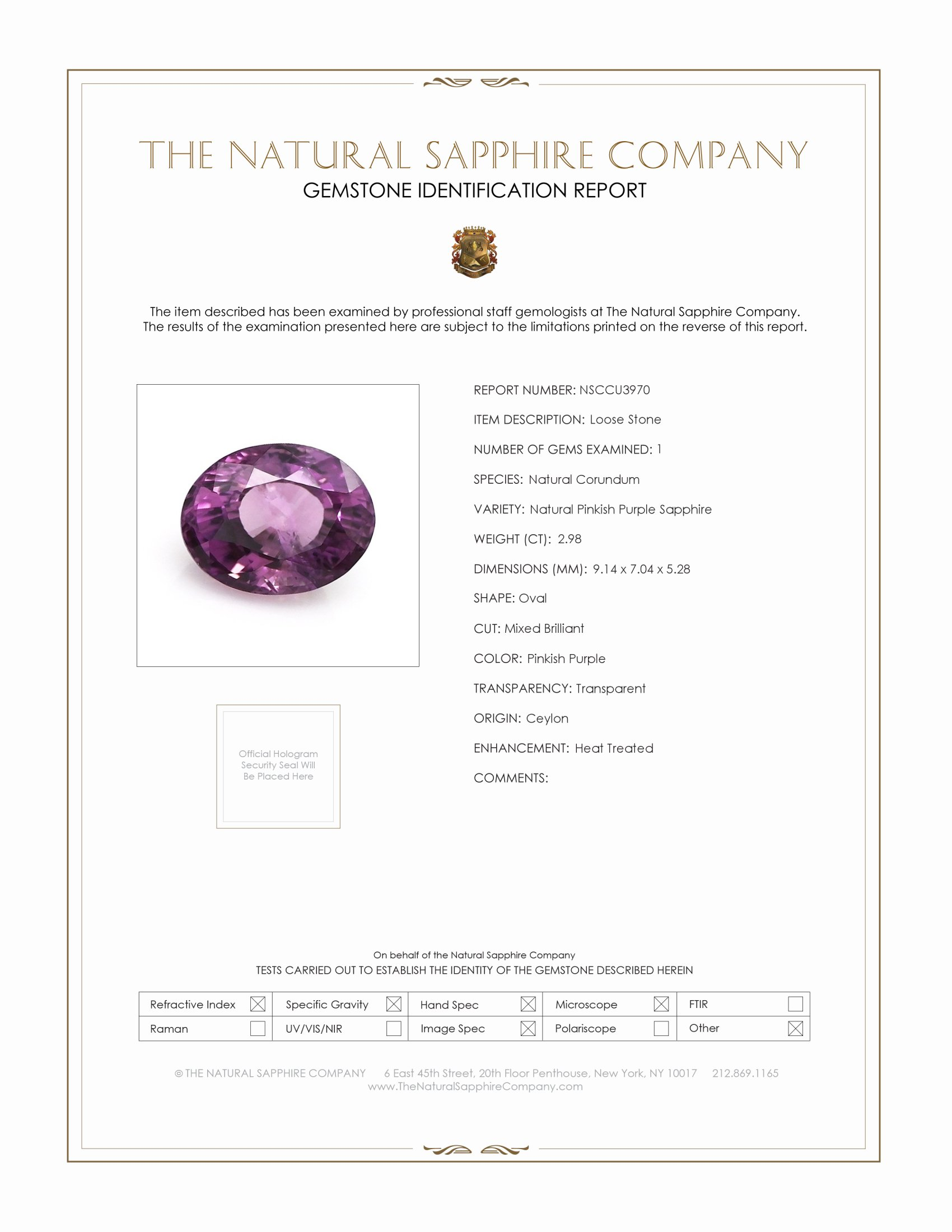 Natural Pinkish Purple Sapphire U3970 Certification