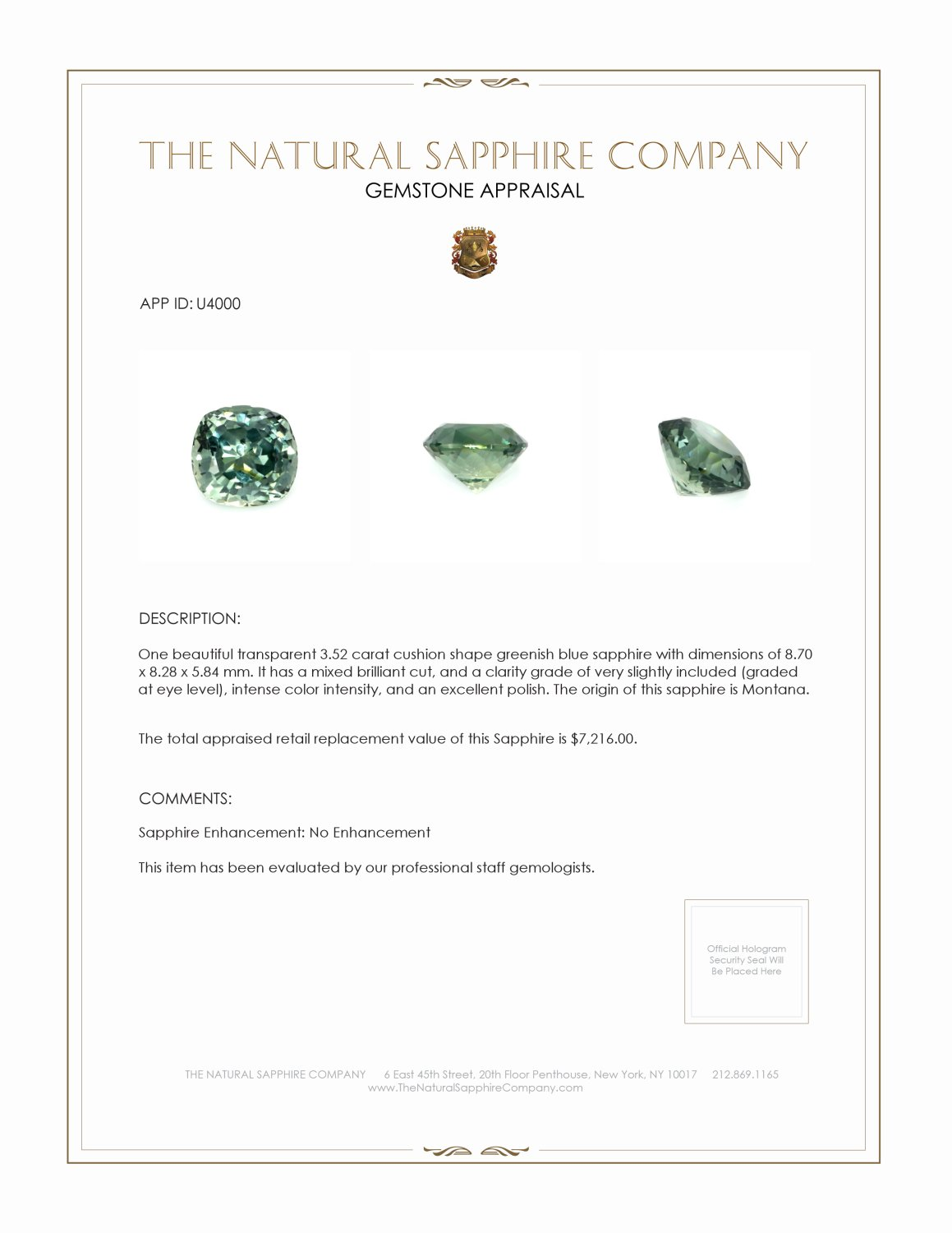 Natural Untreated Greenish Blue Sapphire U4000 Certification 3