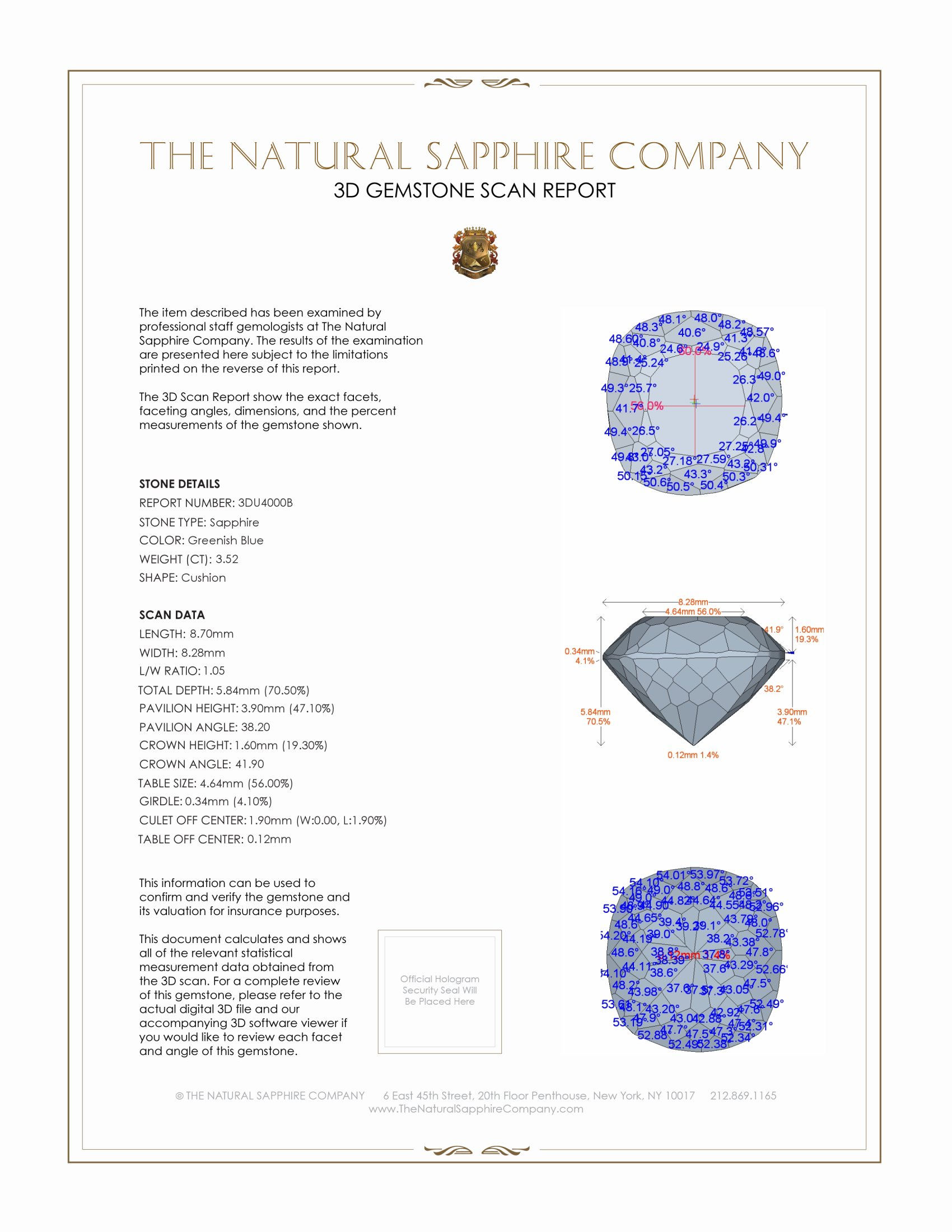 Natural Untreated Greenish Blue Sapphire U4000 Certification 2