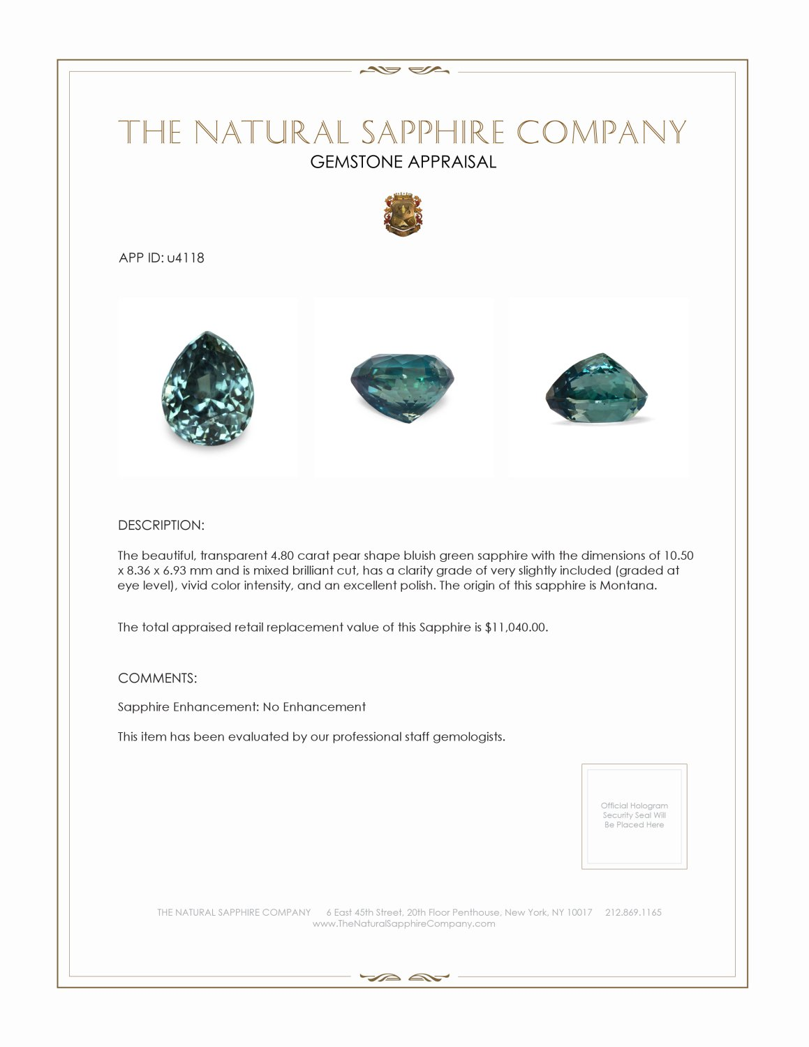 Natural Untreated Bluish Green Sapphire U4118 Certification 3