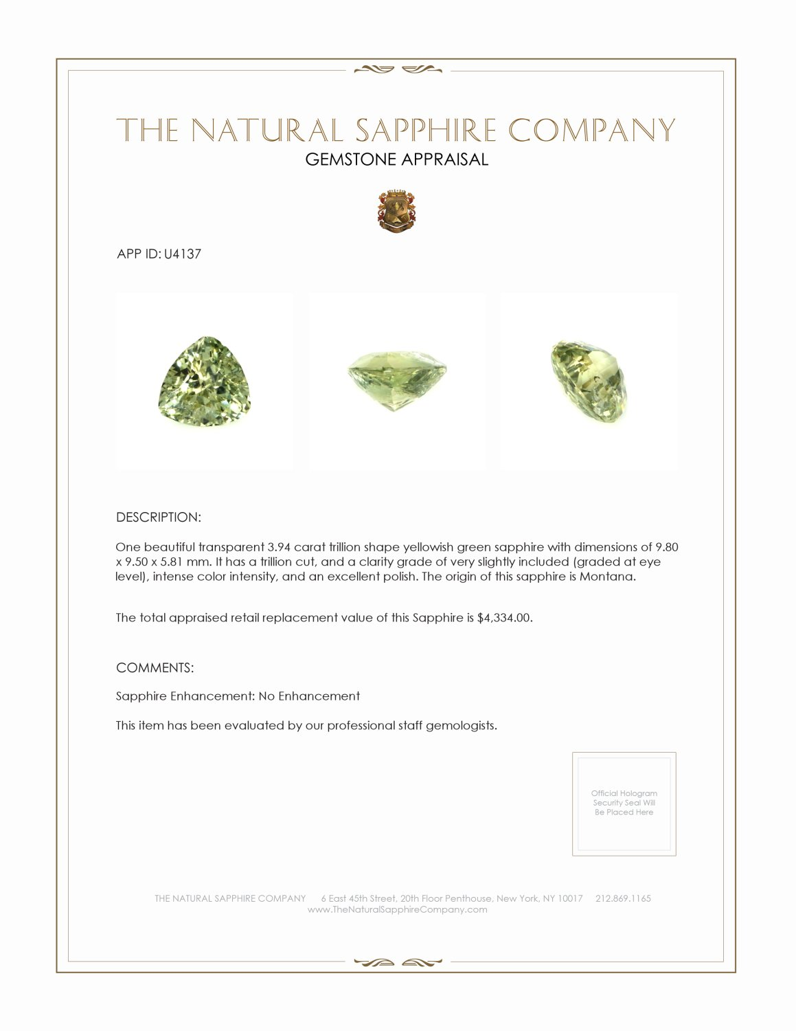 Natural Untreated Yellowish Green Sapphire U4137 Certification 3