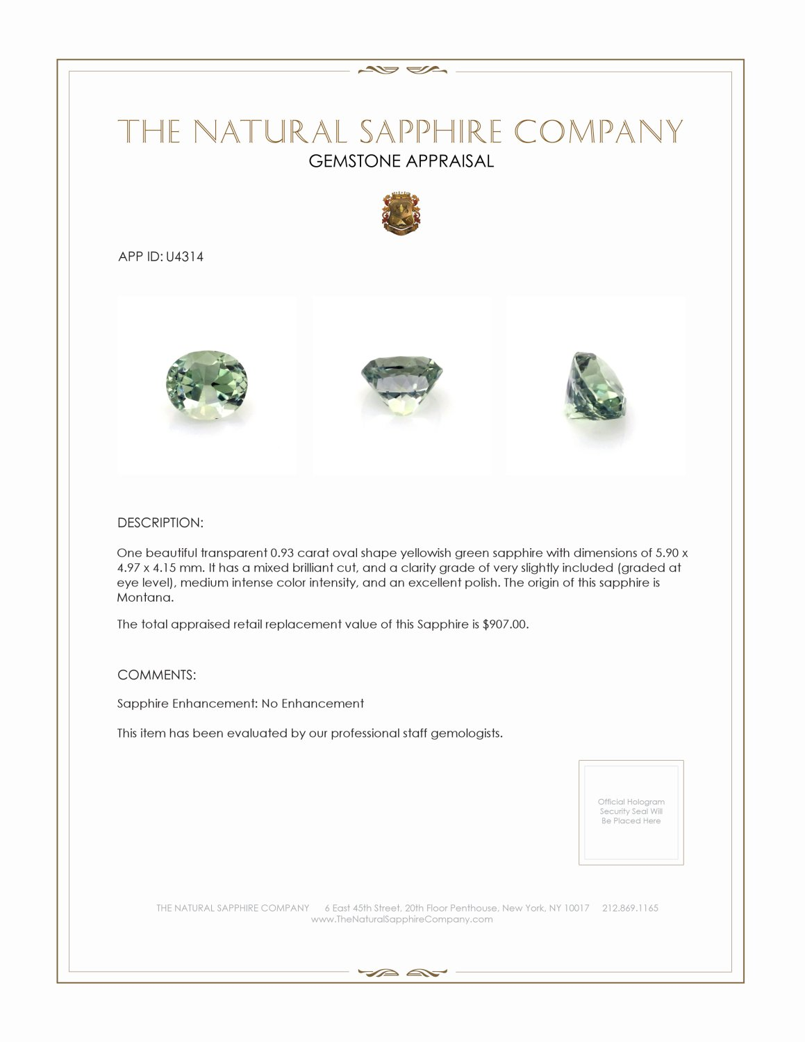 Natural Untreated Yellowish Green Sapphire U4314 Certification 3