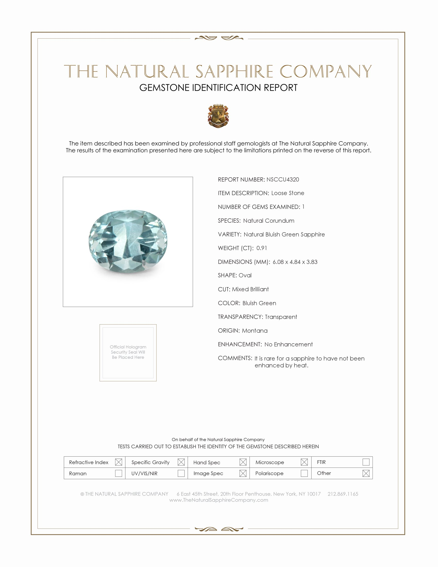 Natural Untreated Greenish Blue Sapphire U4320 Certification