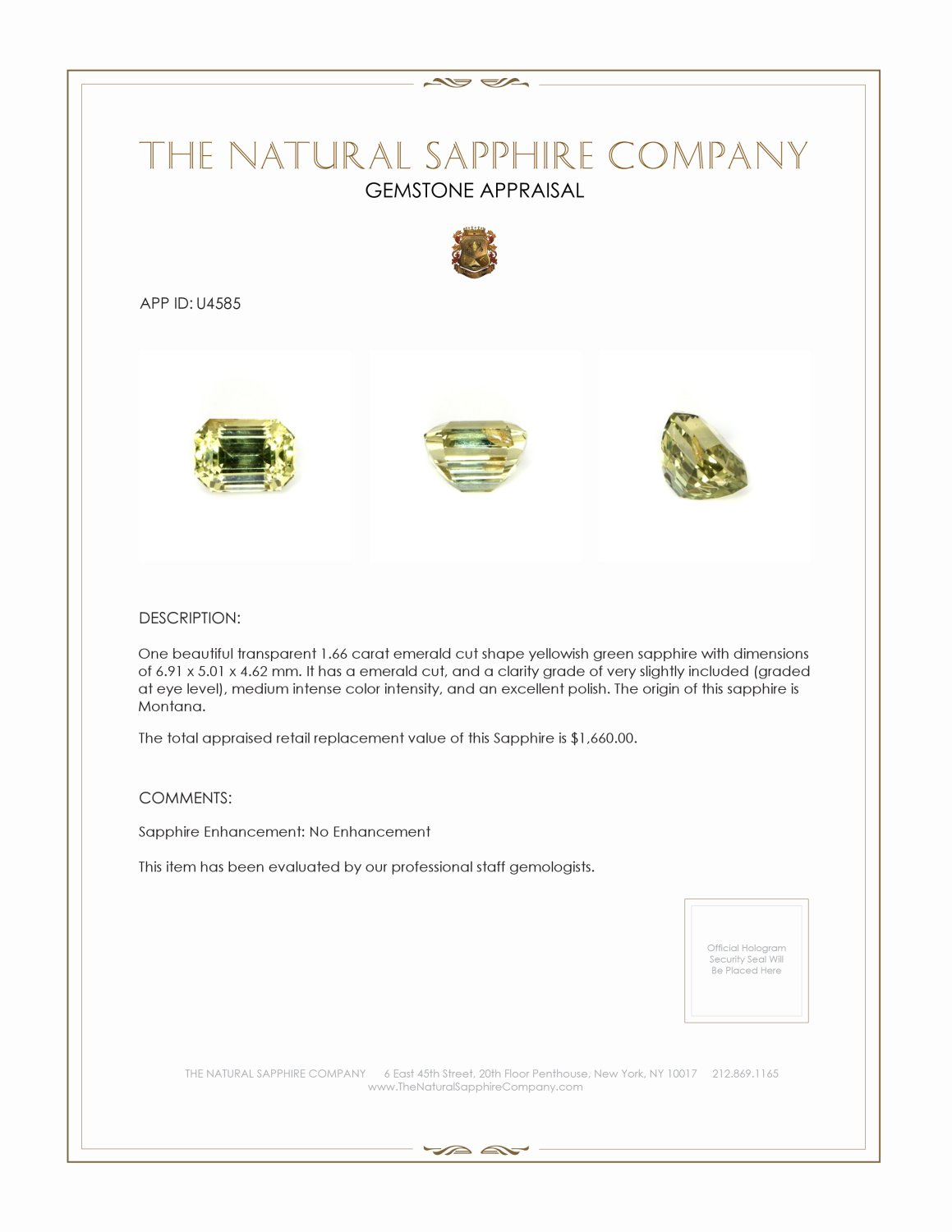 Natural Untreated Yellowish Green Sapphire U4585 Certification 3