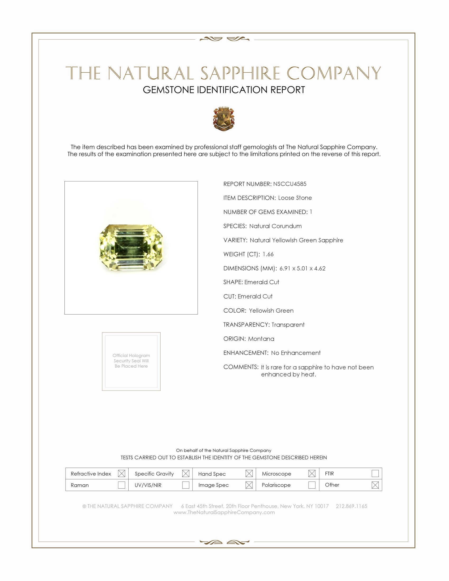 Natural Untreated Yellowish Green Sapphire U4585 Certification