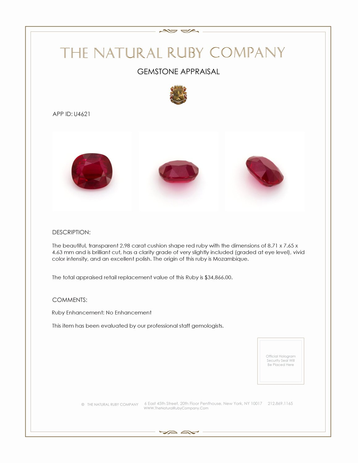 Natural Untreated Ruby U4621 Certification 4