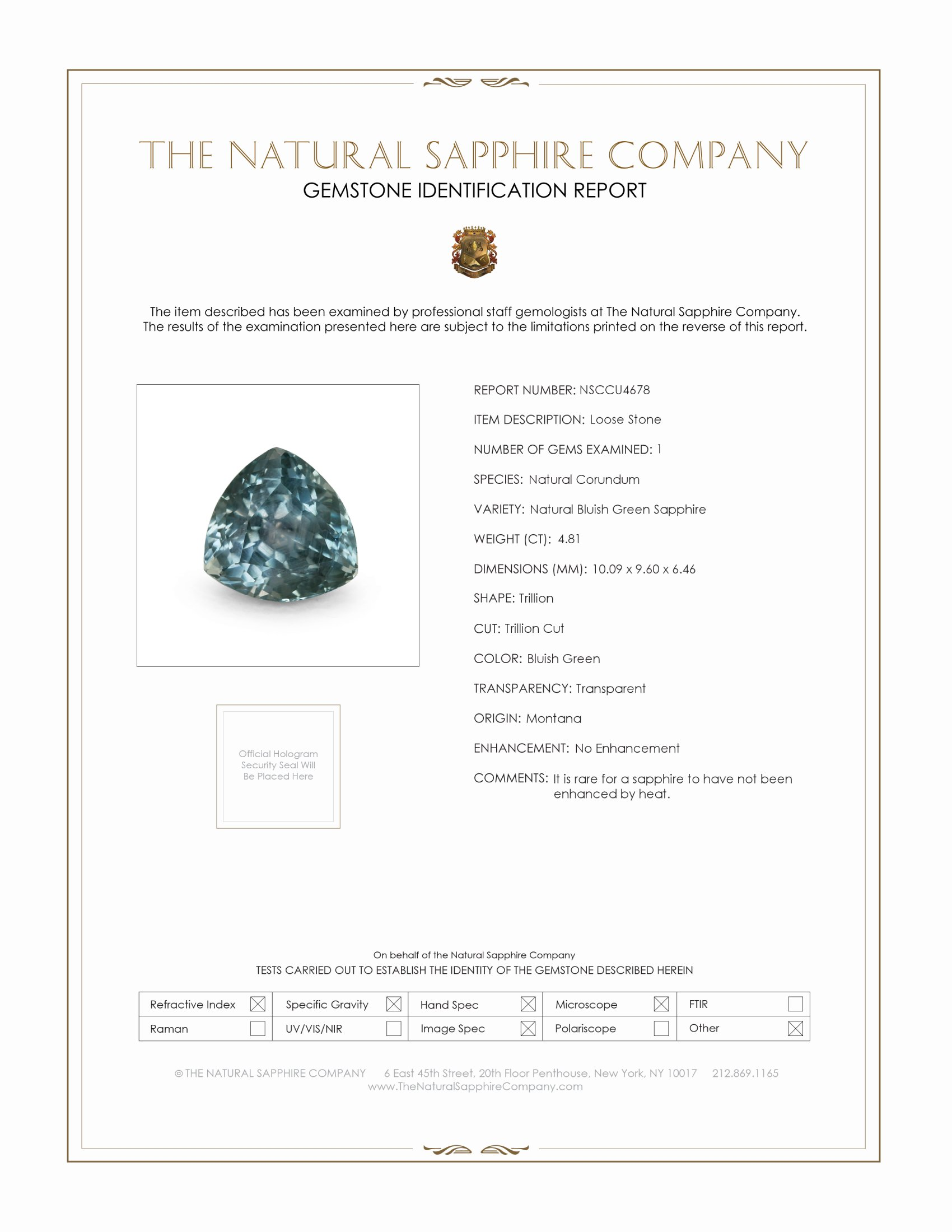 Natural Untreated Bluish Green Sapphire U4678 Certification