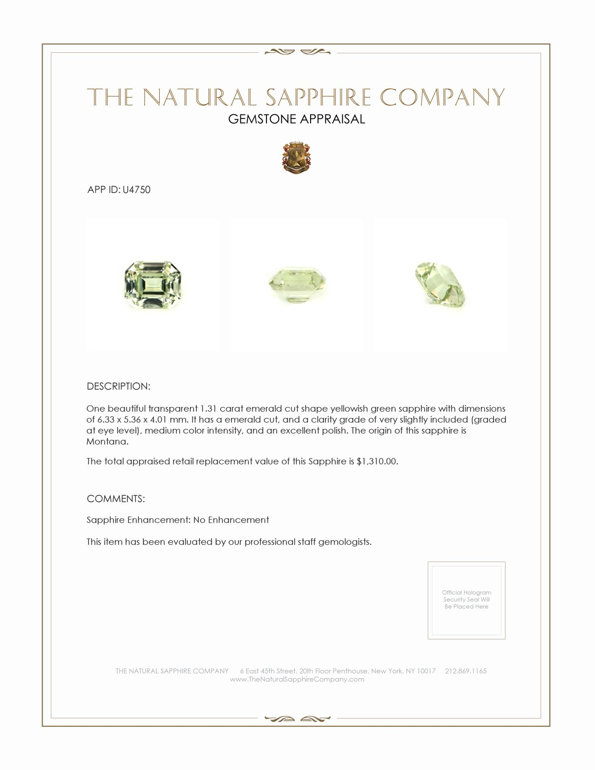 Natural Untreated Yellowish Green Sapphire U4750 Certification
