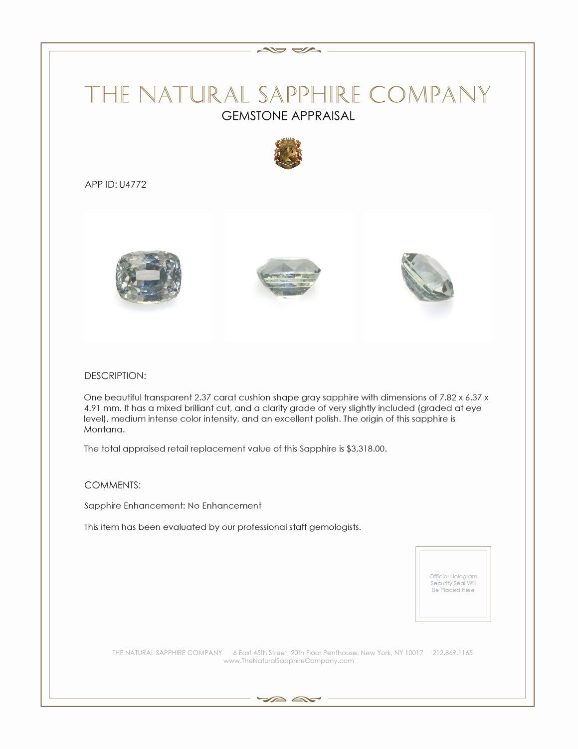Natural Untreated Green Sapphire U4772 Certification