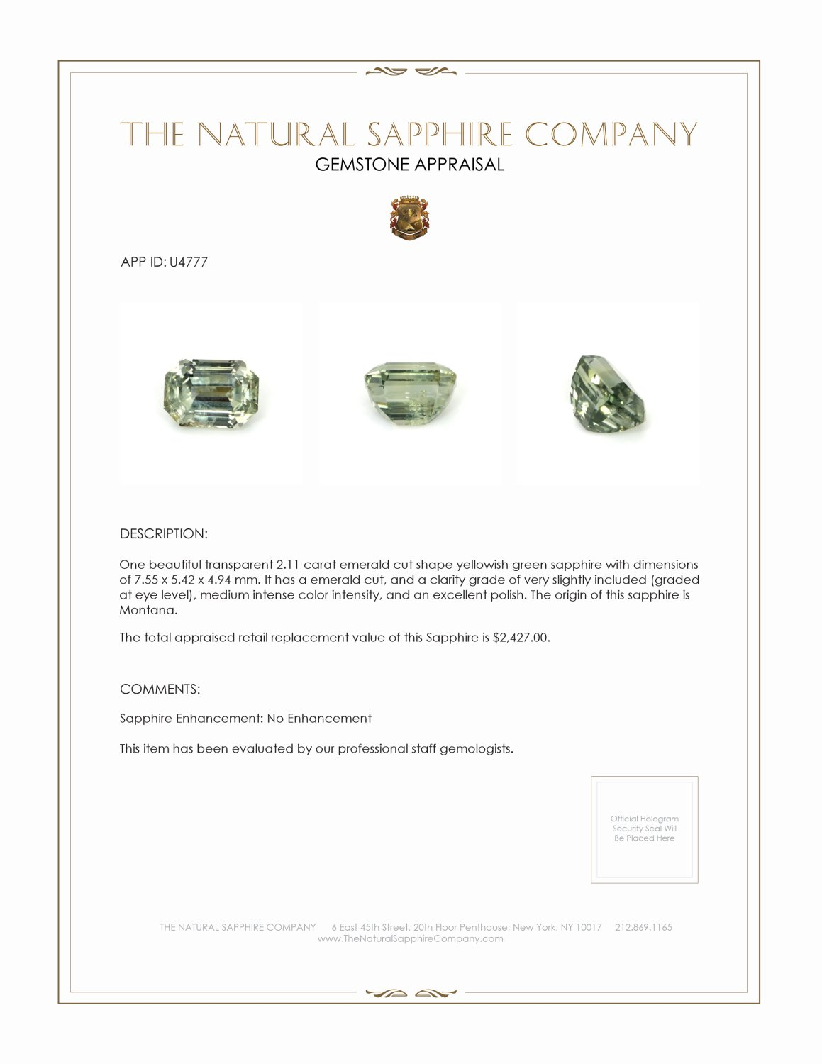 Natural Untreated Yellowish Green Sapphire U4777 Certification 3