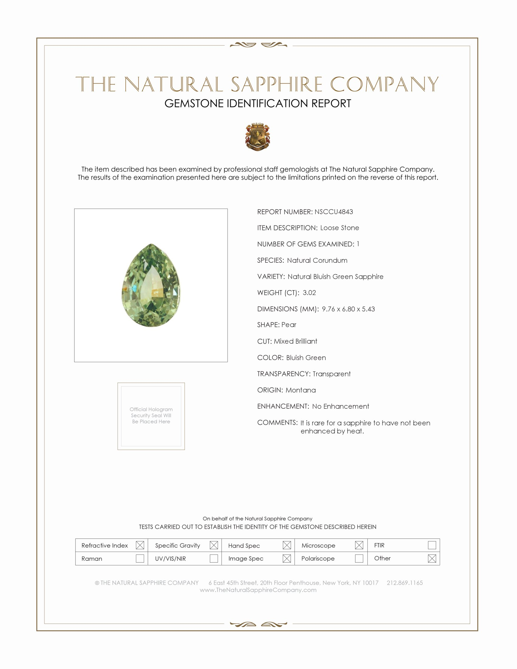 Natural Untreated Yellowish Green Sapphire U4843 Certification