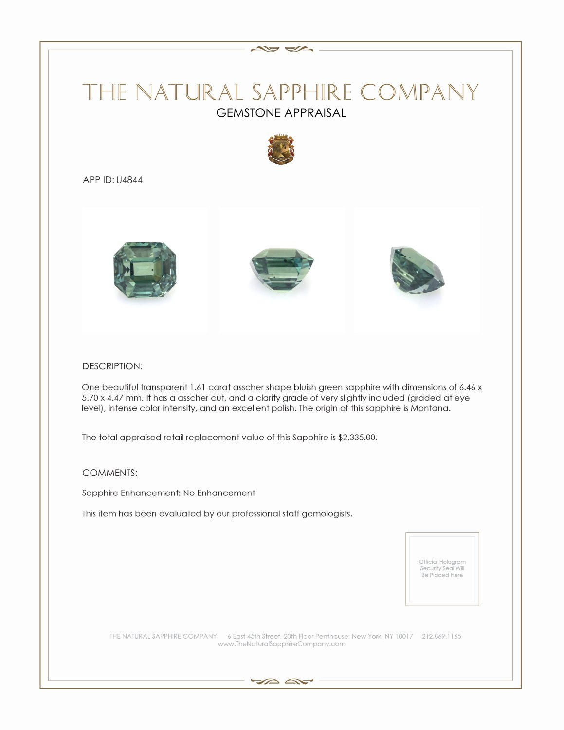 Natural Untreated Bluish Green Sapphire U4844 Certification 3