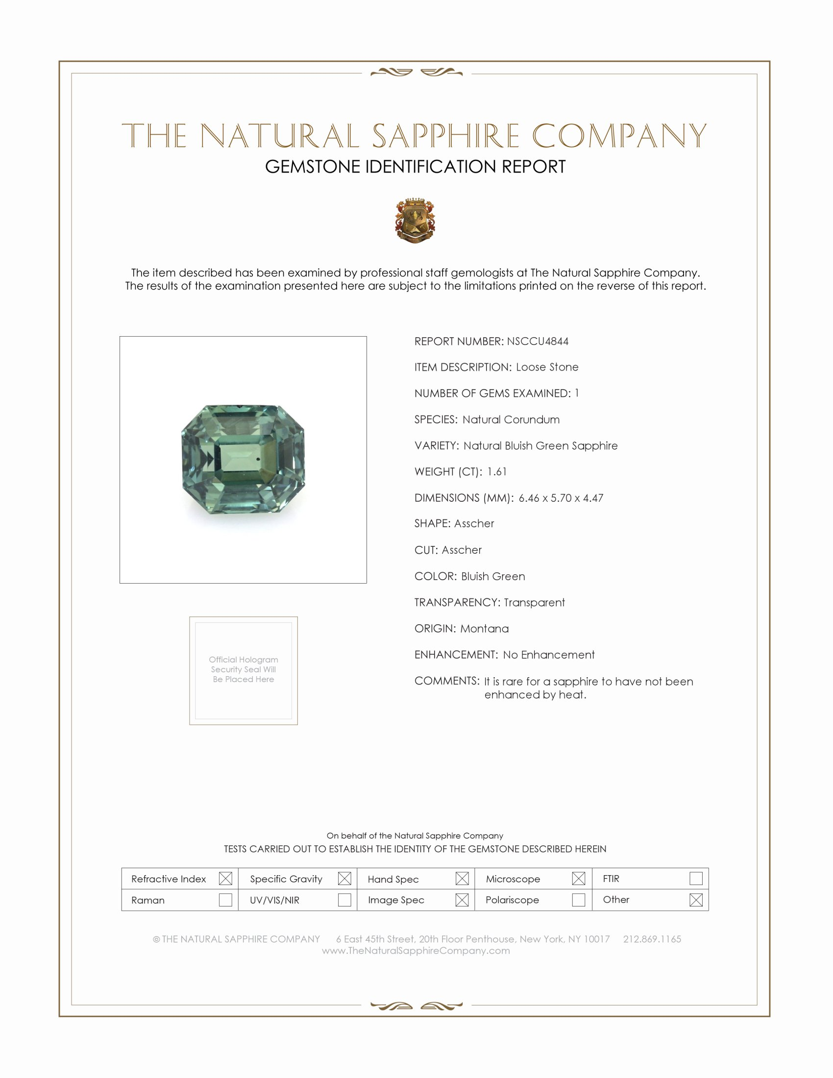 Natural Untreated Bluish Green Sapphire U4844 Certification