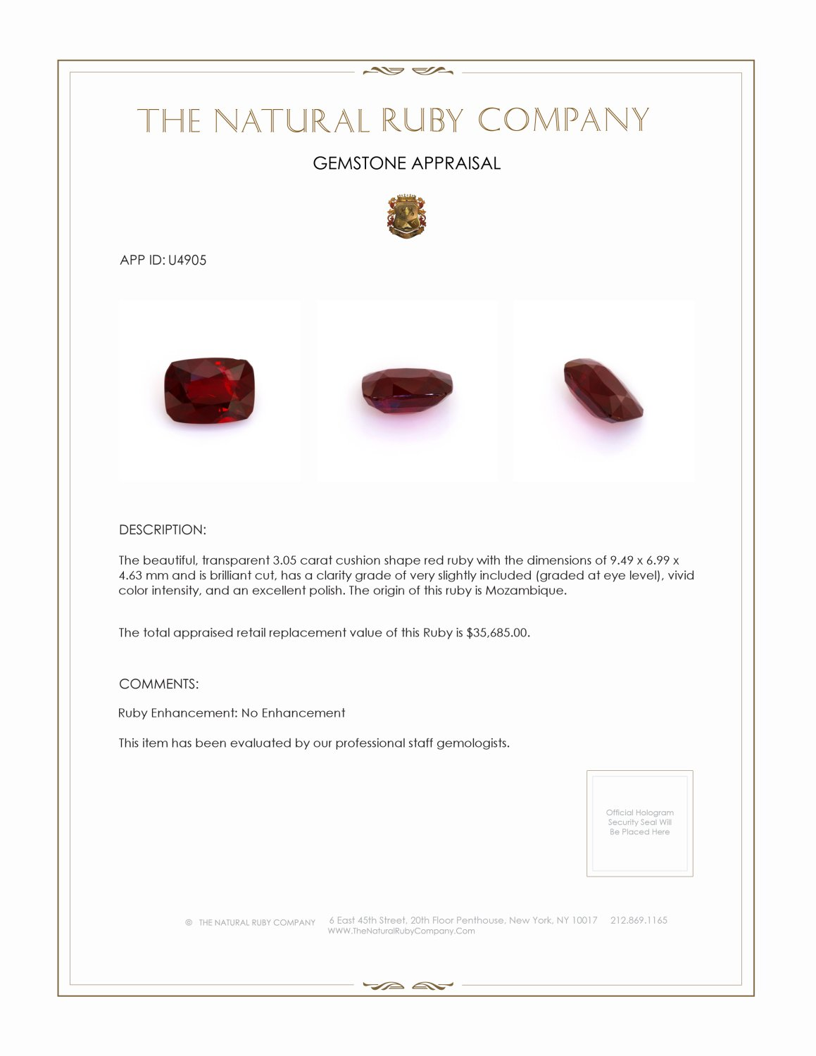 Natural Untreated Ruby U4905 Certification 4