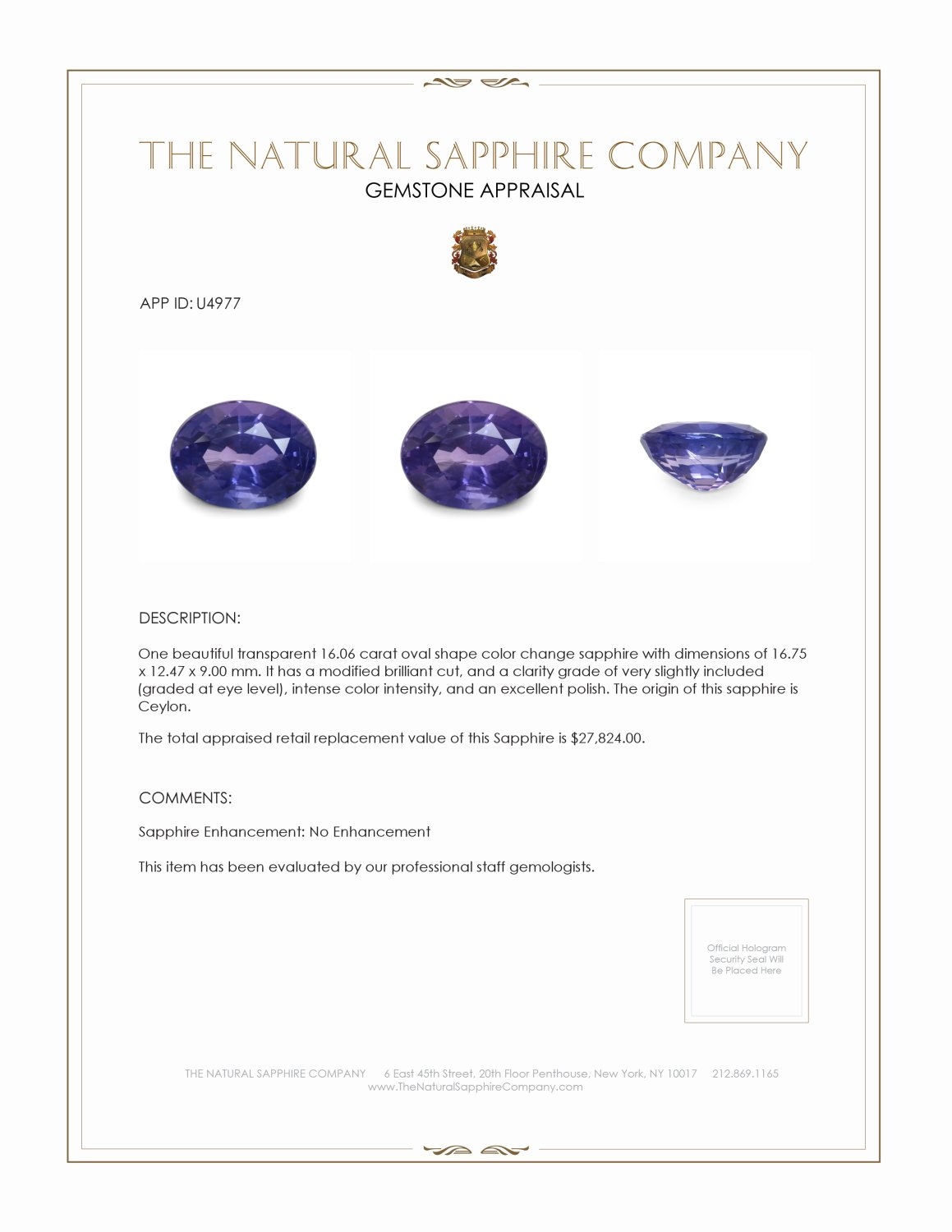 Natural Untreated Color-Change Sapphire U4977 Certification 4