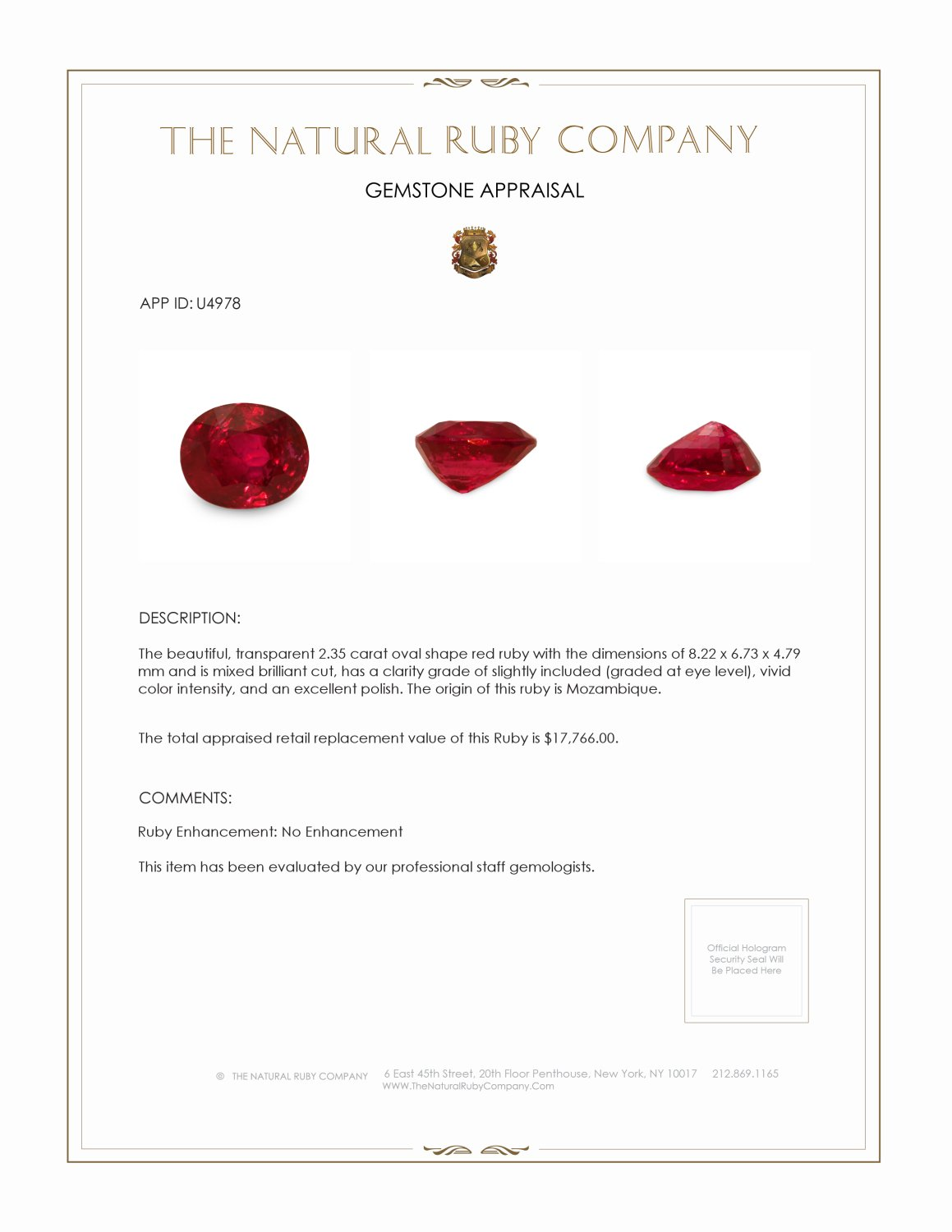 Natural Untreated Ruby U4978 Certification 4